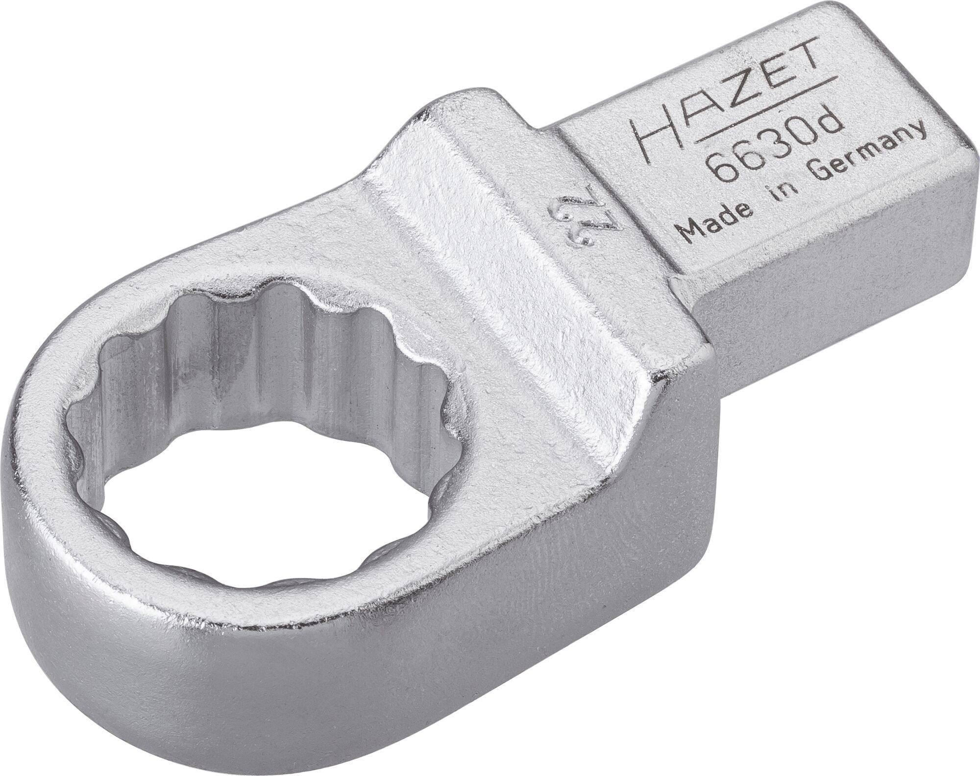 HAZET Einsteck-Ringschlüssel 6630D-22 ∙ Einsteck-Vierkant 14 x 18 mm ∙ Außen-Doppel-Sechskant-Tractionsprofil ∙ 22 mm