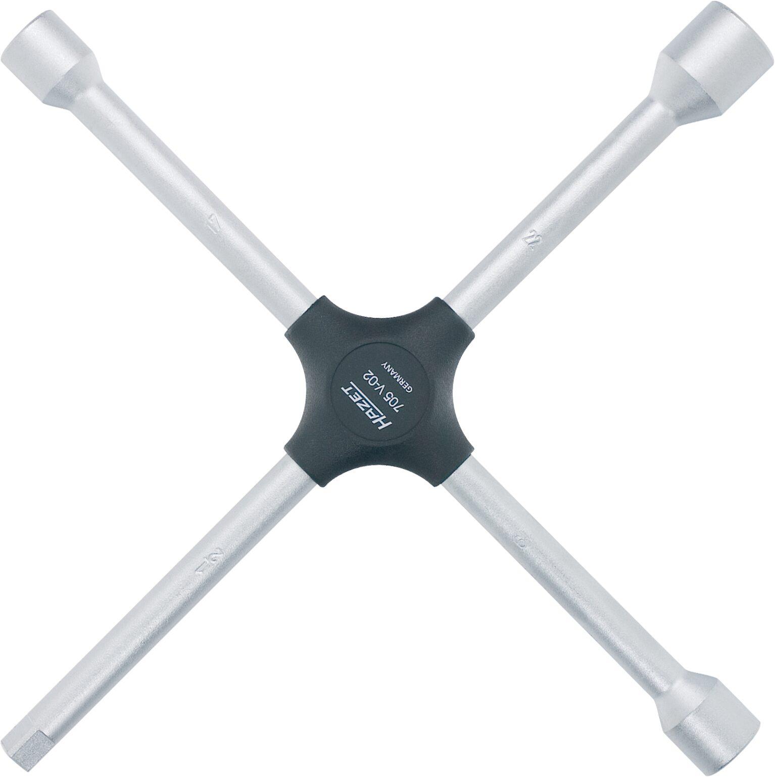 HAZET Kreuzschlüssel 705V-02 ∙ Außen-Sechskant Profil ∙ 17x19x22xAußenvierkant Antrieb 12,5 = 1/2 Zoll mm