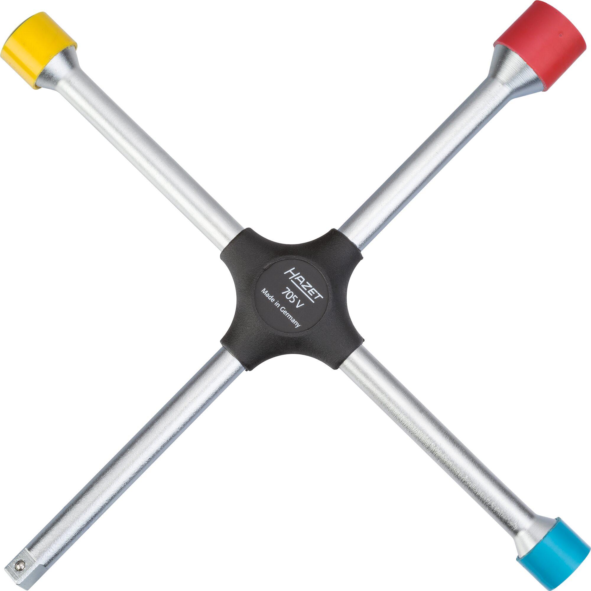 HAZET Kreuzschlüssel 705V ∙ Außen-Sechskant Profil ∙ 17x19x21xAußenvierkant Antrieb 12,5 = 1/2 Zoll mm