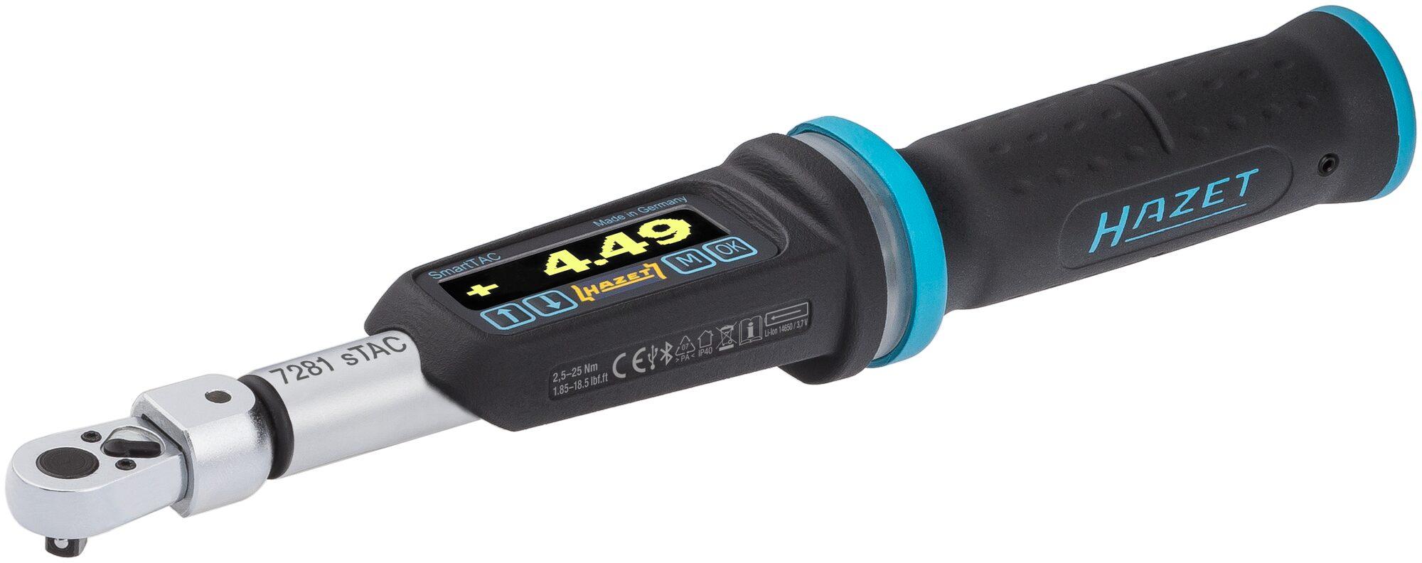 HAZET Elektronischer Drehmoment- / Drehwinkel-Schlüssel 7281-5STAC ∙ Nm min-max: 2.5–25 Nm ∙ Toleranz: 2%