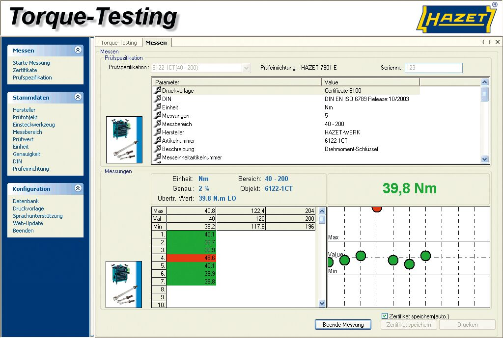 HAZET Prüfsoftware Torque-Testing 7901E-D