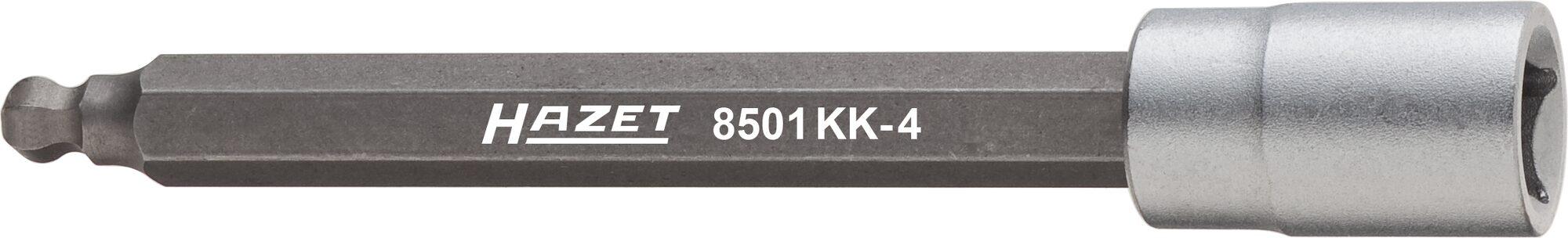 HAZET Drehzahlsensor Kugelkopf Schraubendreher-Steckschlüsseleinsatz 8501KK-4 ∙ Vierkant hohl 6,3 mm (1/4 Zoll) ∙ 4 mm
