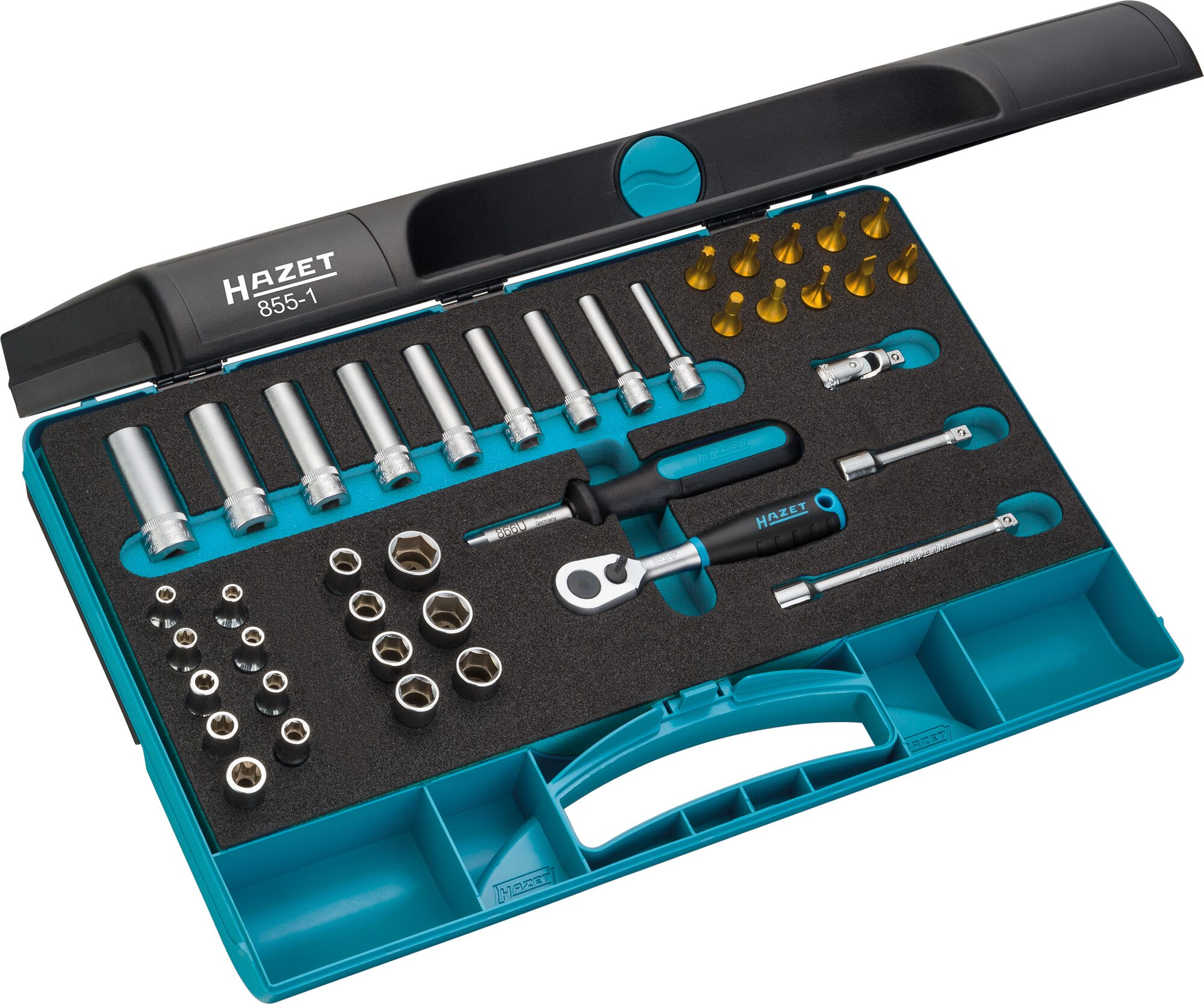 HAZET Steckschlüssel Satz 855-1 ∙ Vierkant hohl 6,3 mm (1/4 Zoll) ∙ Anzahl Werkzeuge: 40