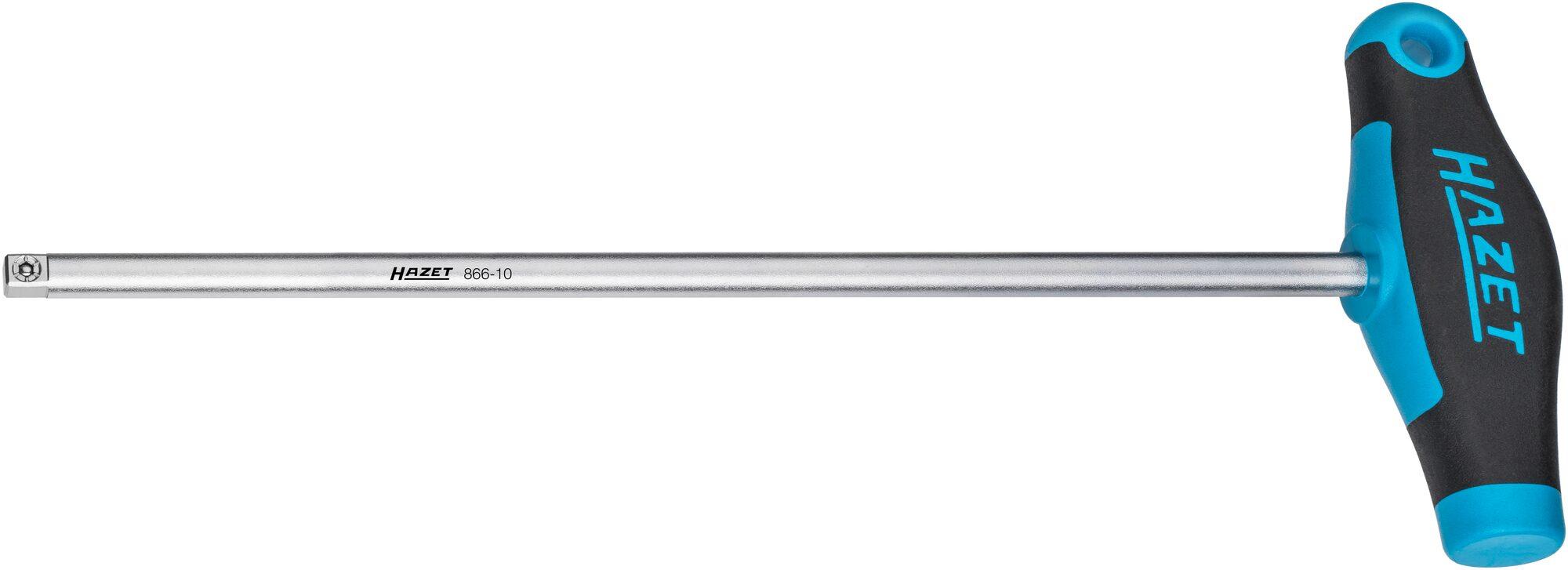 HAZET Steckgriff mit T-Griff 866-10 ∙ Vierkant massiv 6,3 mm (1/4 Zoll) ∙ 295 mm