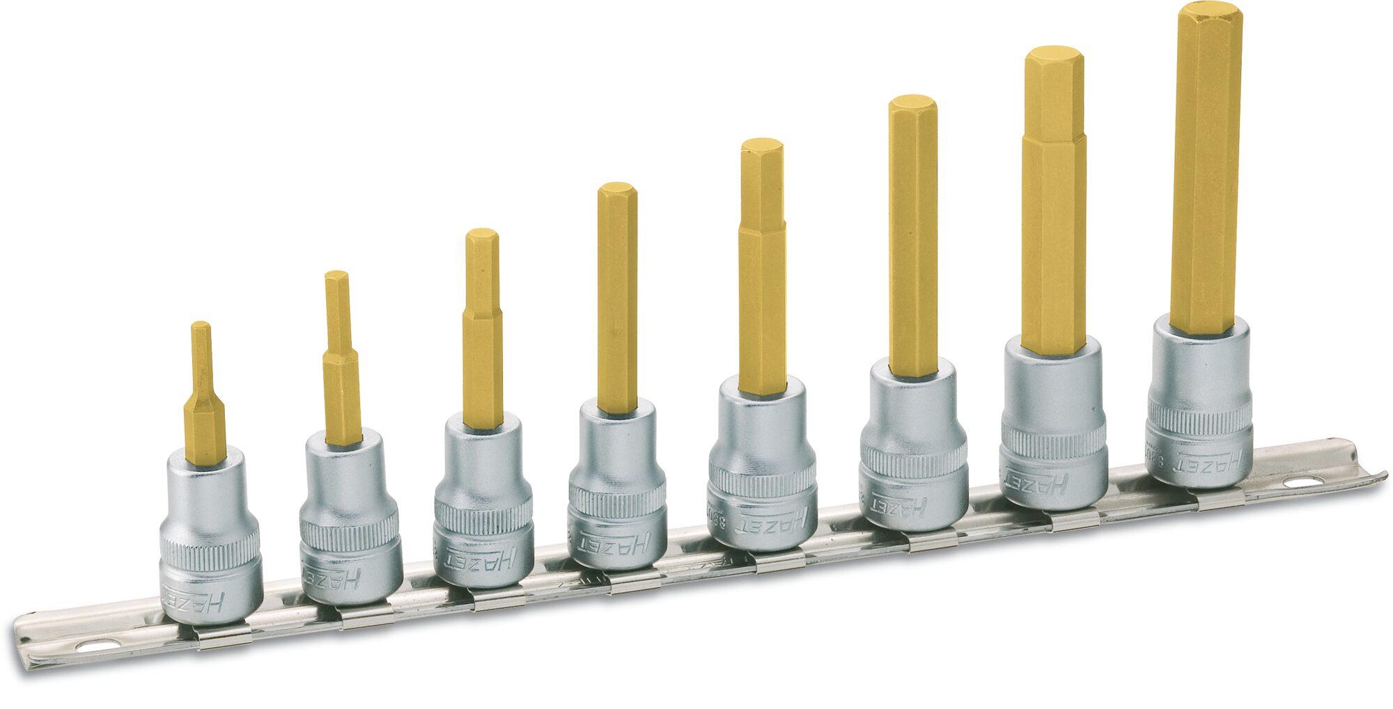 HAZET Steckschlüsseleinsatz Satz 8801/8H ∙ Vierkant hohl 10 mm (3/8 Zoll) ∙ Innen-Sechskant Profil ∙ 3–10