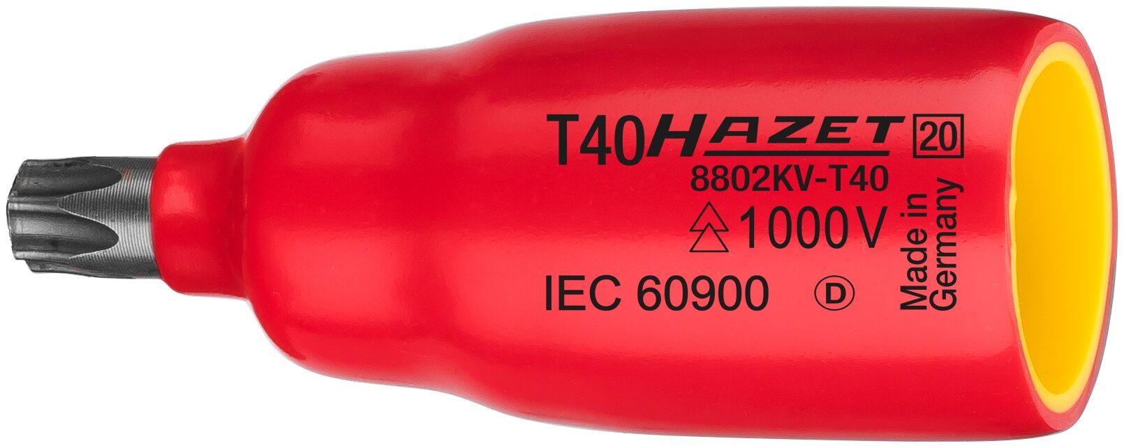HAZET Schraubendreher-Steckschlüsseleinsatz 8802KV-T30 ∙ Vierkant hohl 10 mm (3/8 Zoll) ∙ Innen TORX® Profil ∙ T30