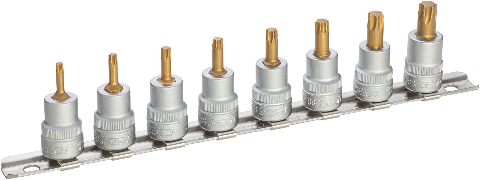 HAZET Steckschlüsseleinsatz Satz 8802T/8H ∙ Vierkant hohl 10 mm (3/8 Zoll) ∙ Innen TORX® Profil ∙ T15–T50
