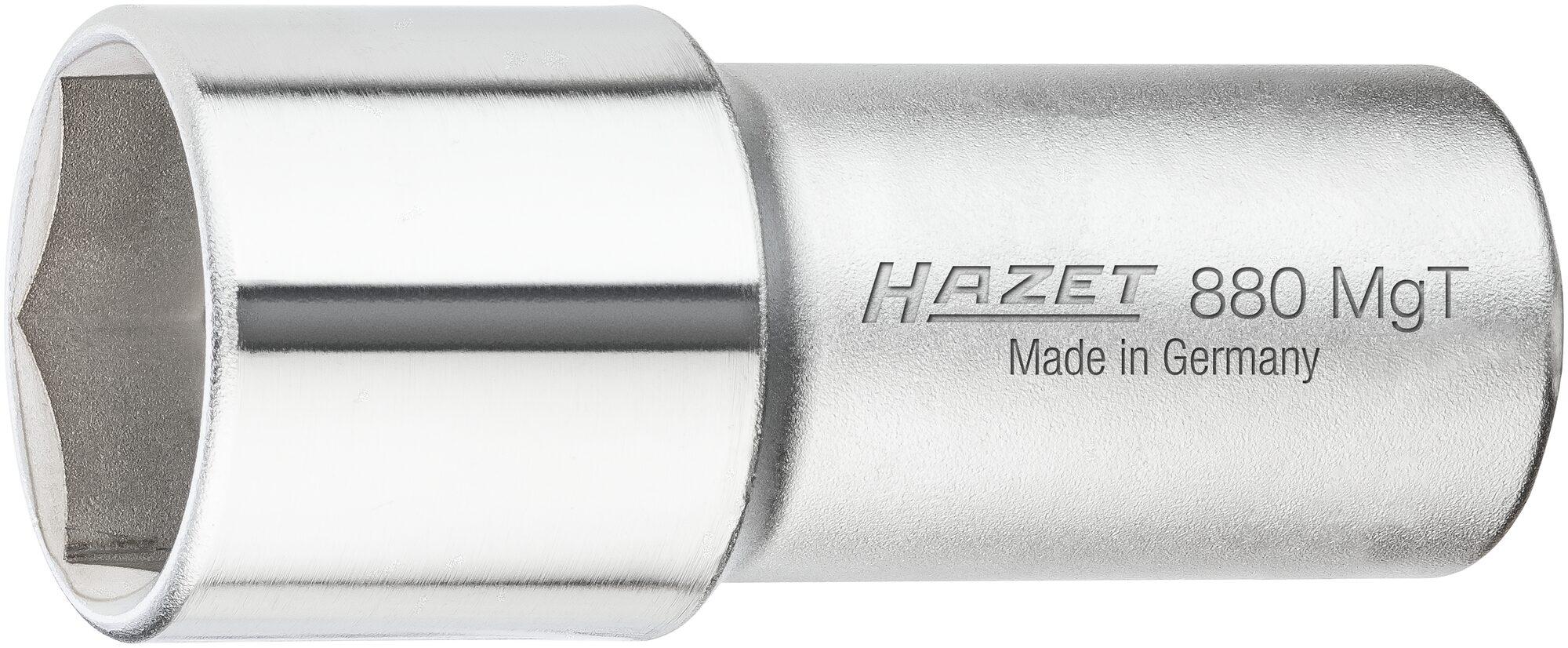 HAZET Zündkerzen Steckschlüsseleinsatz 880MGT ∙ Vierkant hohl 10 mm (3/8 Zoll) ∙ Außen-Sechskant Profil ∙ 20.8 mm