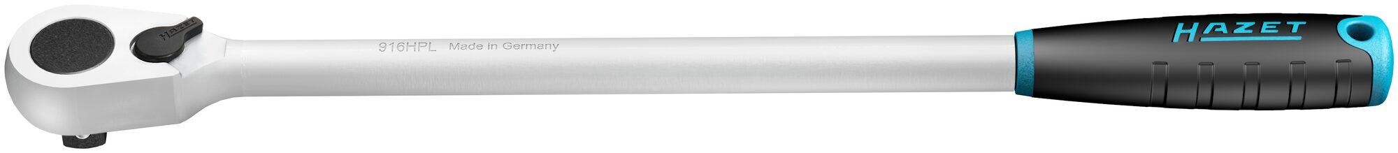 HAZET HiPer Feinzahn-Umschaltknarre ∙ lang 916HPL ∙ Vierkant massiv 12,5 mm (1/2 Zoll)