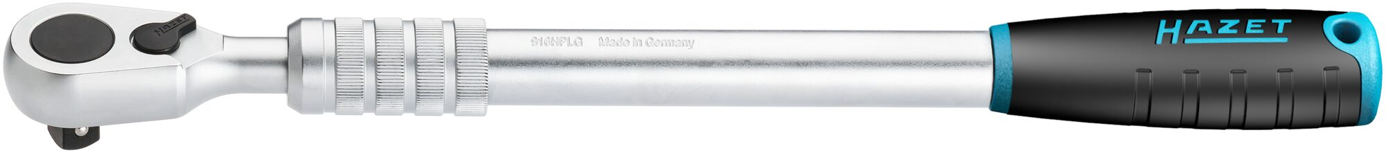 HAZET HiPer Feinzahn-Umschaltknarre ∙ ausziehbar 916HPLG ∙ Vierkant massiv 12,5 mm (1/2 Zoll) ∙ 614 mm