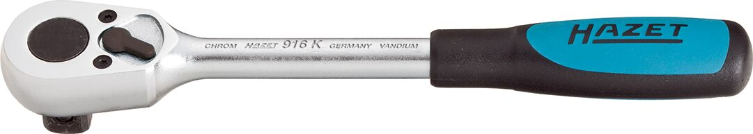 HAZET Umschaltknarre ∙ kurz 916K ∙ Vierkant massiv 12,5 mm (1/2 Zoll)