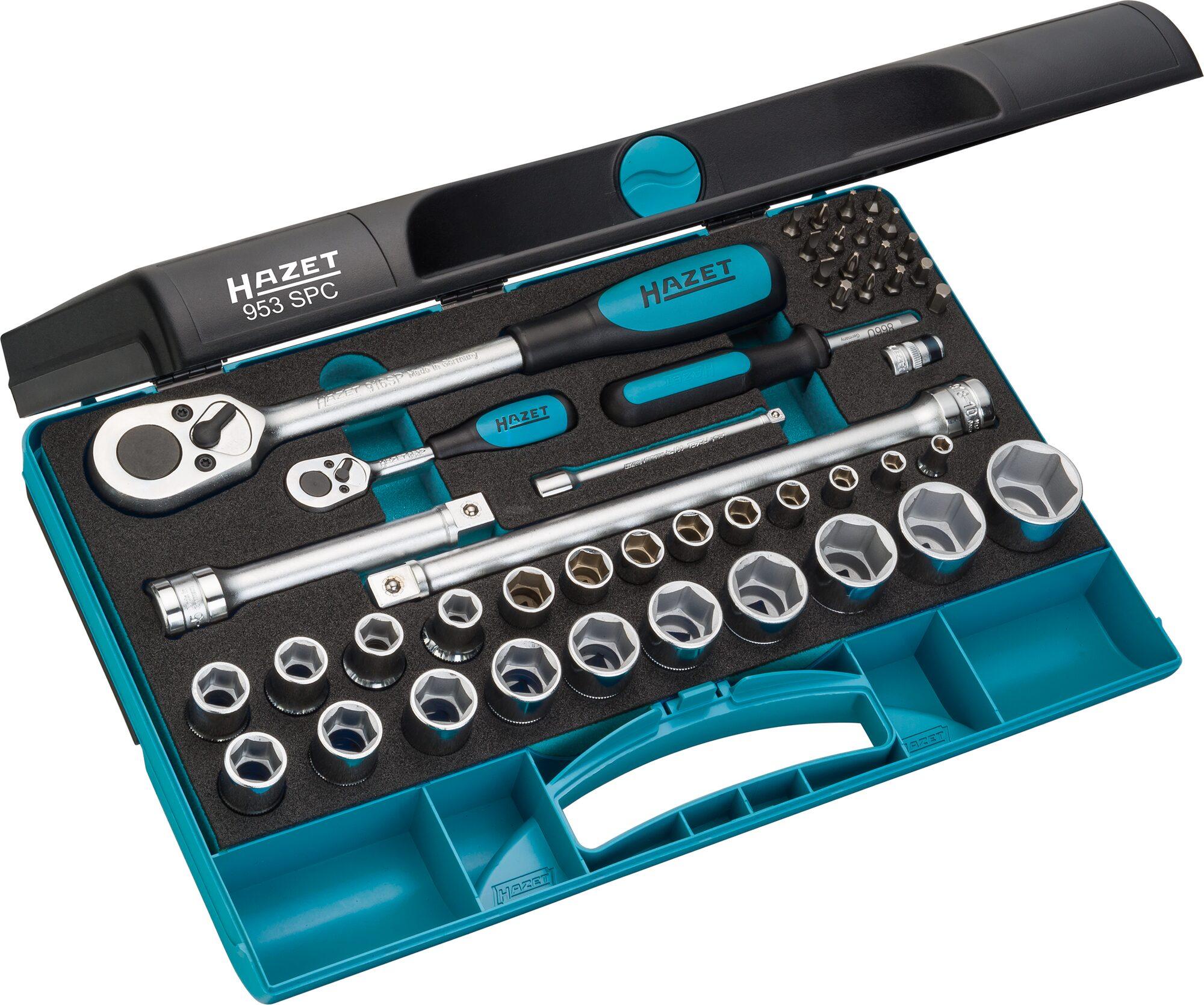 HAZET Steckschlüssel Satz 953SPC ∙ Vierkant hohl 12,5 mm (1/2 Zoll) ∙ Anzahl Werkzeuge: 47