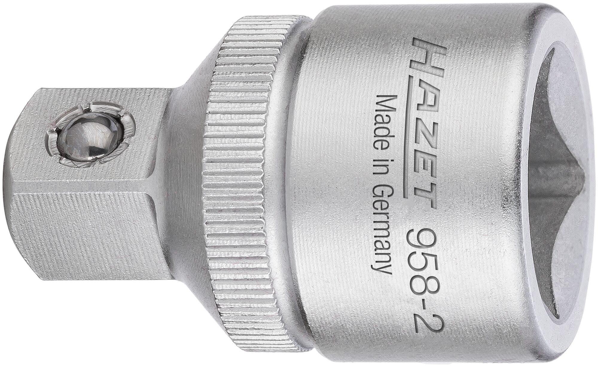 HAZET Reduzierstück 958-2 ∙ Vierkant hohl 12,5 mm (1/2 Zoll) ∙ Vierkant massiv 10 mm (3/8 Zoll)