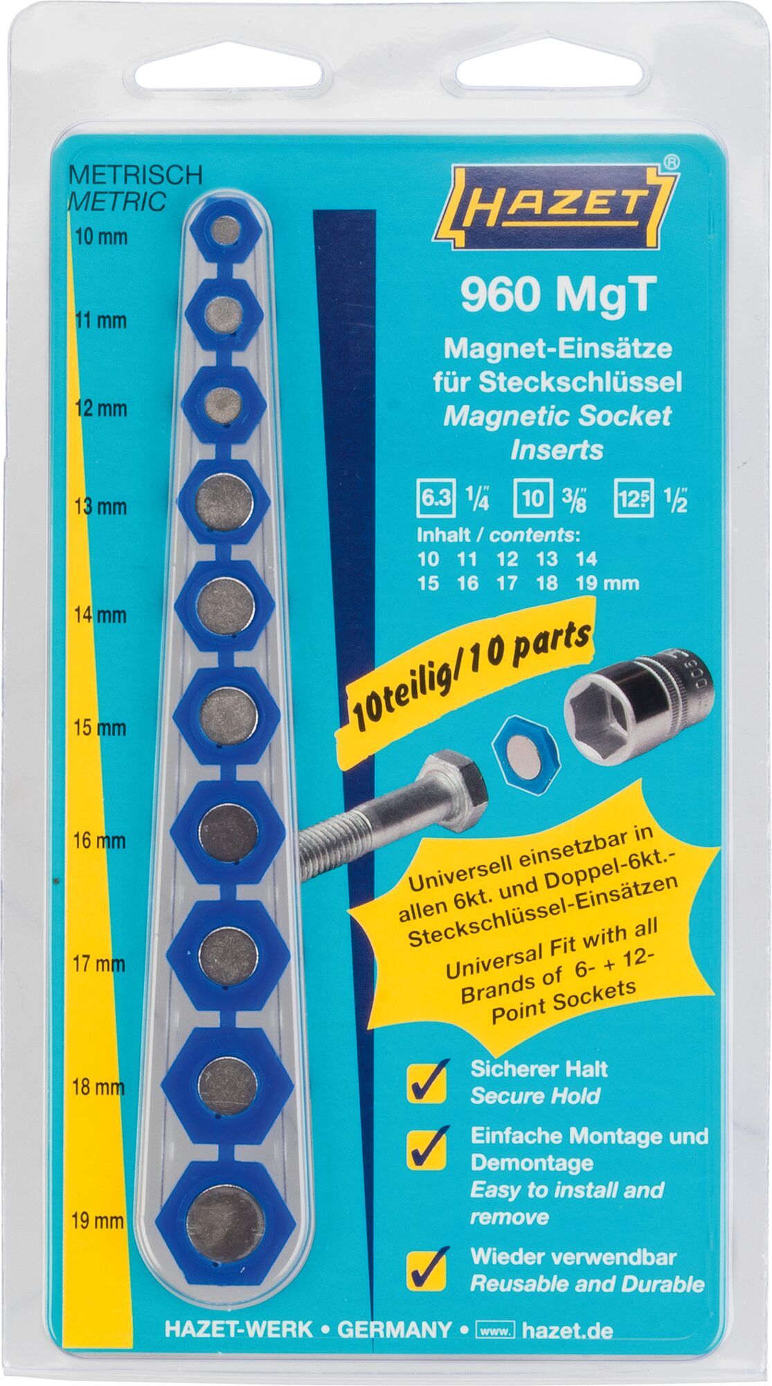 HAZET Magnet-Einsatz für Steckschlüssel 960MGT ∙ Außen-Sechskant Profil