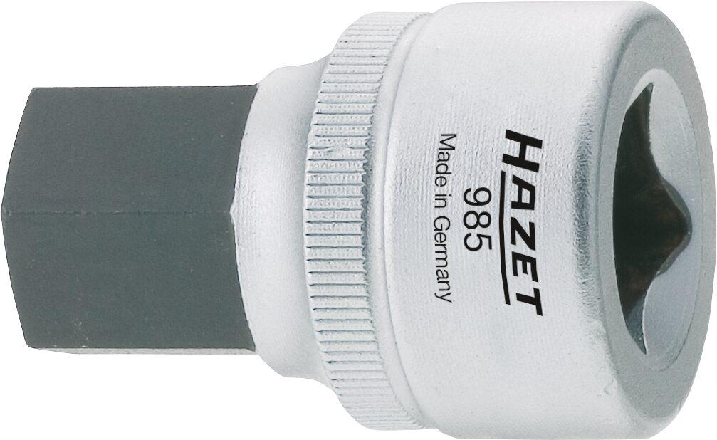 HAZET Schraubendreher-Steckschlüsseleinsatz 985-10 ∙ Vierkant hohl 12,5 mm (1/2 Zoll) ∙ Innen-Sechskant Profil ∙ 10 mm