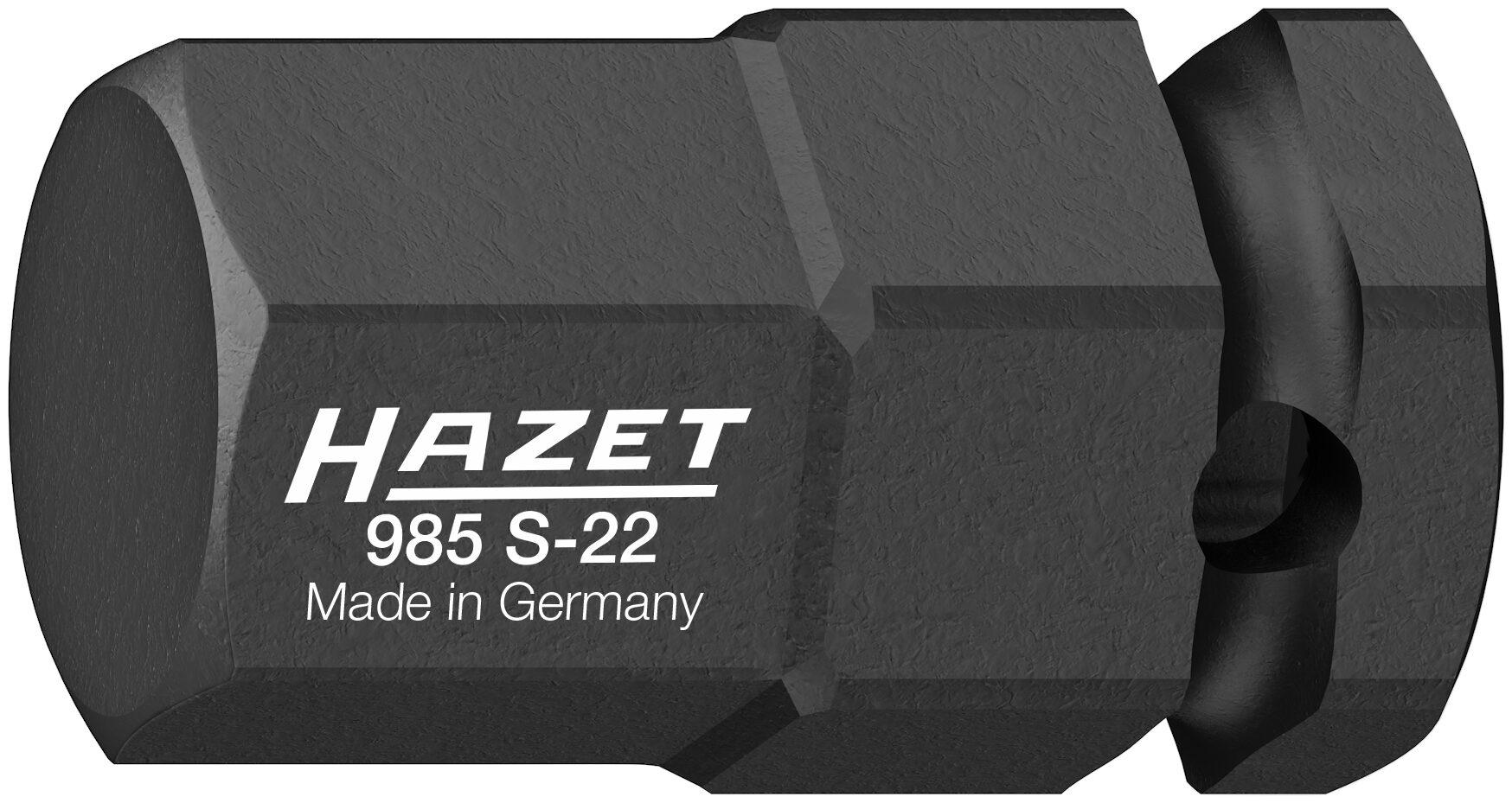 HAZET Schlag- ∙ Maschinenschrauber Schraubendreher-Steckschlüsseleinsatz 985S-22 ∙ Vierkant hohl 12,5 mm (1/2 Zoll)