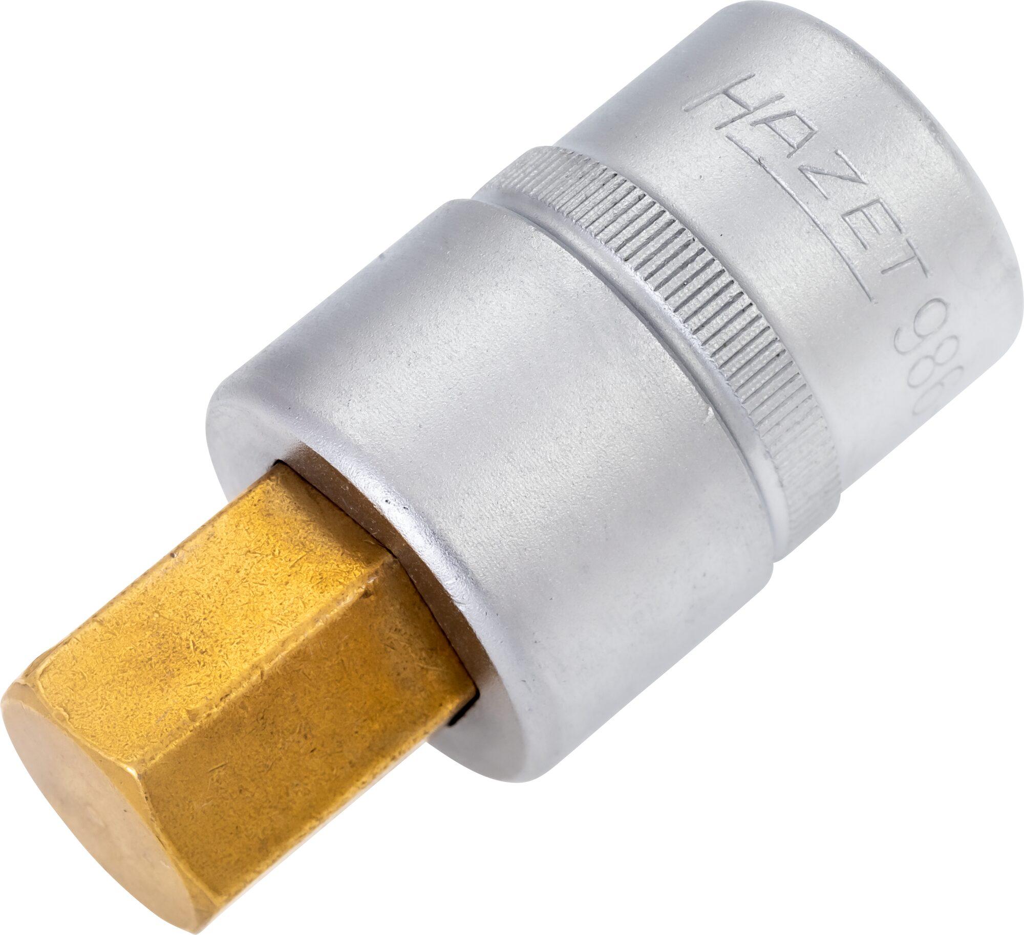 HAZET Schraubendreher-Steckschlüsseleinsatz 986-17 ∙ Vierkant hohl 12,5 mm (1/2 Zoll) ∙ Innen-Sechskant Profil ∙ 17 mm