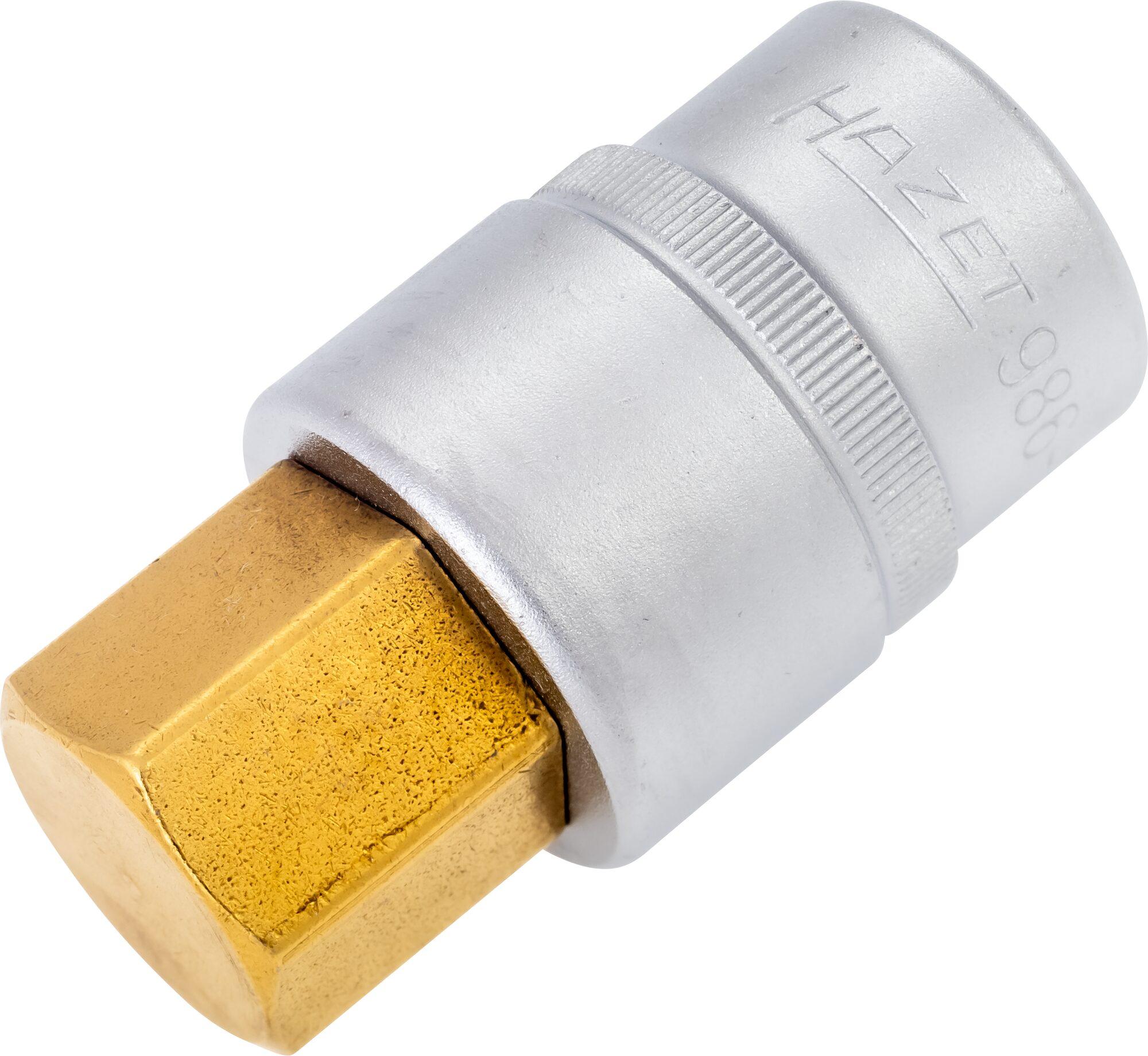 HAZET Schraubendreher-Steckschlüsseleinsatz 986-22 ∙ Vierkant hohl 12,5 mm (1/2 Zoll) ∙ Innen-Sechskant Profil ∙ 22 mm