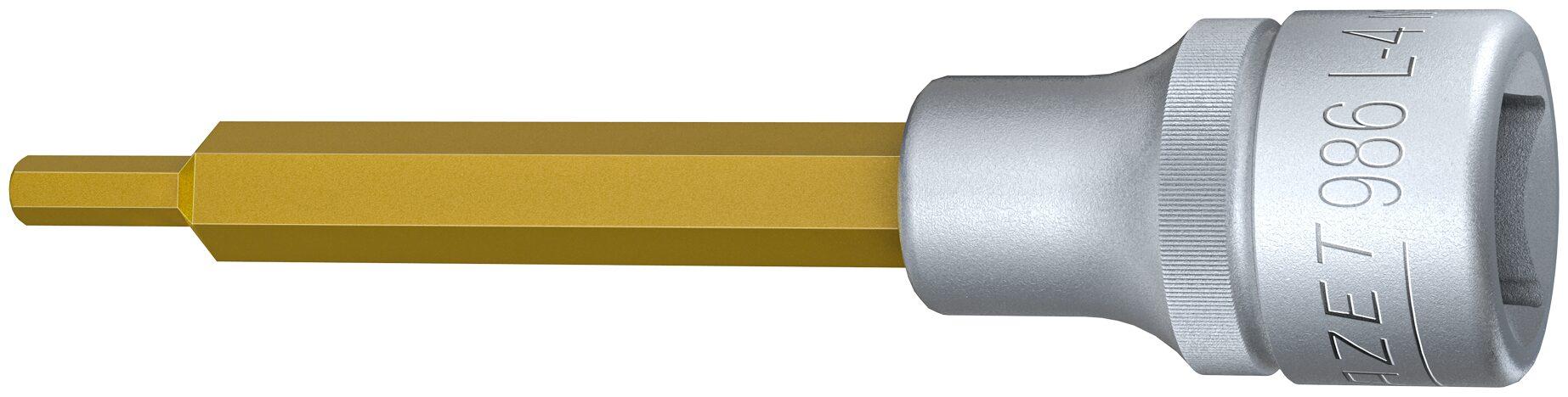 HAZET Schraubendreher-Steckschlüsseleinsatz 986L-4 ∙ Vierkant hohl 12,5 mm (1/2 Zoll) ∙ Innen-Sechskant Profil ∙ 4 mm