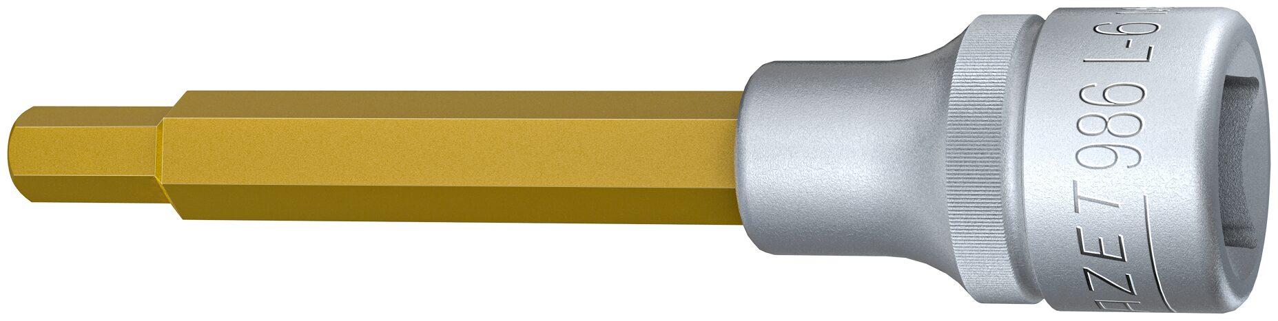 HAZET Schraubendreher-Steckschlüsseleinsatz 986L-6 ∙ Vierkant hohl 12,5 mm (1/2 Zoll) ∙ Innen-Sechskant Profil ∙ 6 mm