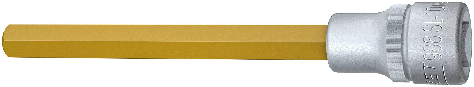 HAZET Schraubendreher-Steckschlüsseleinsatz 986SL-10 ∙ Vierkant hohl 12,5 mm (1/2 Zoll) ∙ Innen-Sechskant Profil ∙ 10 mm