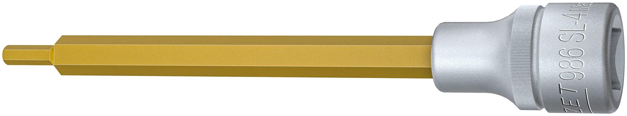 HAZET Schraubendreher-Steckschlüsseleinsatz 986SL-4 ∙ Vierkant hohl 12,5 mm (1/2 Zoll) ∙ Innen-Sechskant Profil ∙ 4 mm
