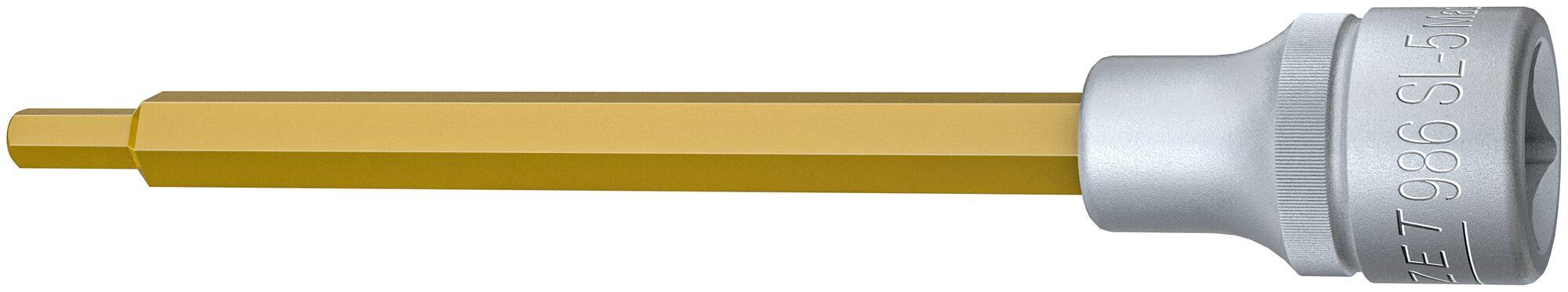 HAZET Schraubendreher-Steckschlüsseleinsatz 986SL-5 ∙ Vierkant hohl 12,5 mm (1/2 Zoll) ∙ Innen-Sechskant Profil ∙ 5 mm