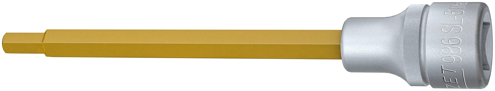 HAZET Schraubendreher-Steckschlüsseleinsatz 986SL-6 ∙ Vierkant hohl 12,5 mm (1/2 Zoll) ∙ Innen-Sechskant Profil ∙ 6 mm