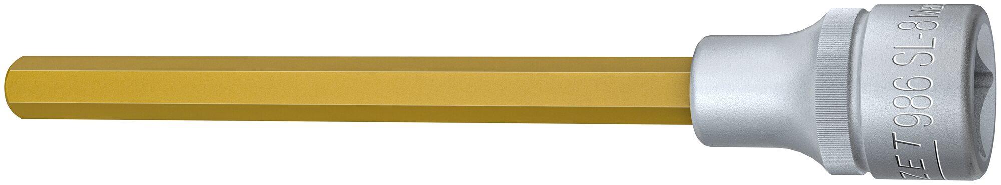HAZET Schraubendreher-Steckschlüsseleinsatz 986SL-8 ∙ Vierkant hohl 12,5 mm (1/2 Zoll) ∙ Innen-Sechskant Profil ∙ 8 mm