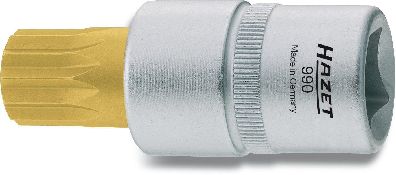 HAZET Schraubendreher-Steckschlüsseleinsatz 990-14 ∙ Vierkant hohl 12,5 mm (1/2 Zoll) ∙ Innen Vielzahn Profil XZN ∙ M14