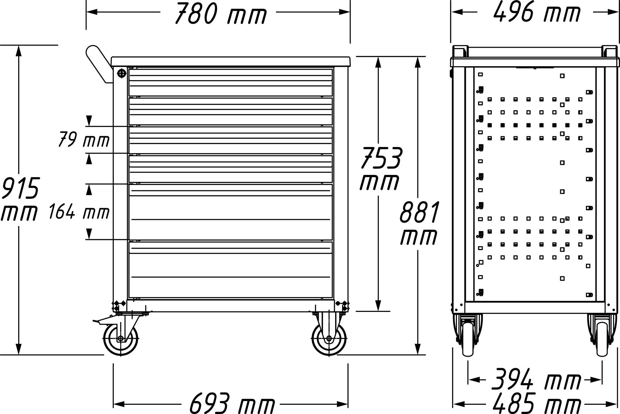 HAZET Werkstattwagen Assistent 177-7 ∙ Schubladen, flach: 6x 79x527x348 mm