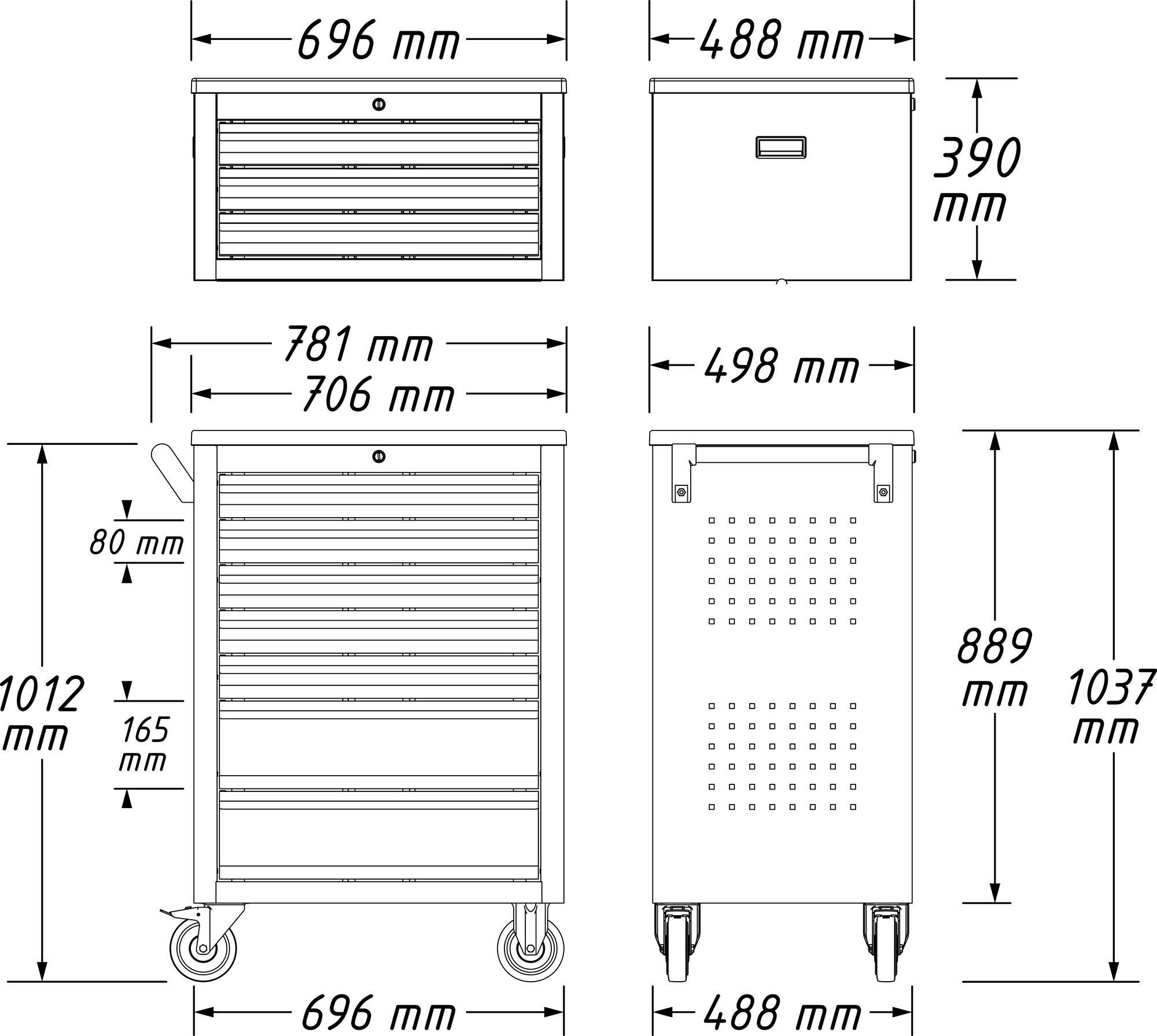 HAZET Werkstattwagen Assistent 178 N-7 ∙ mit 147 Werkzeugen 178N-7/147 ∙ Anzahl Werkzeuge: 147