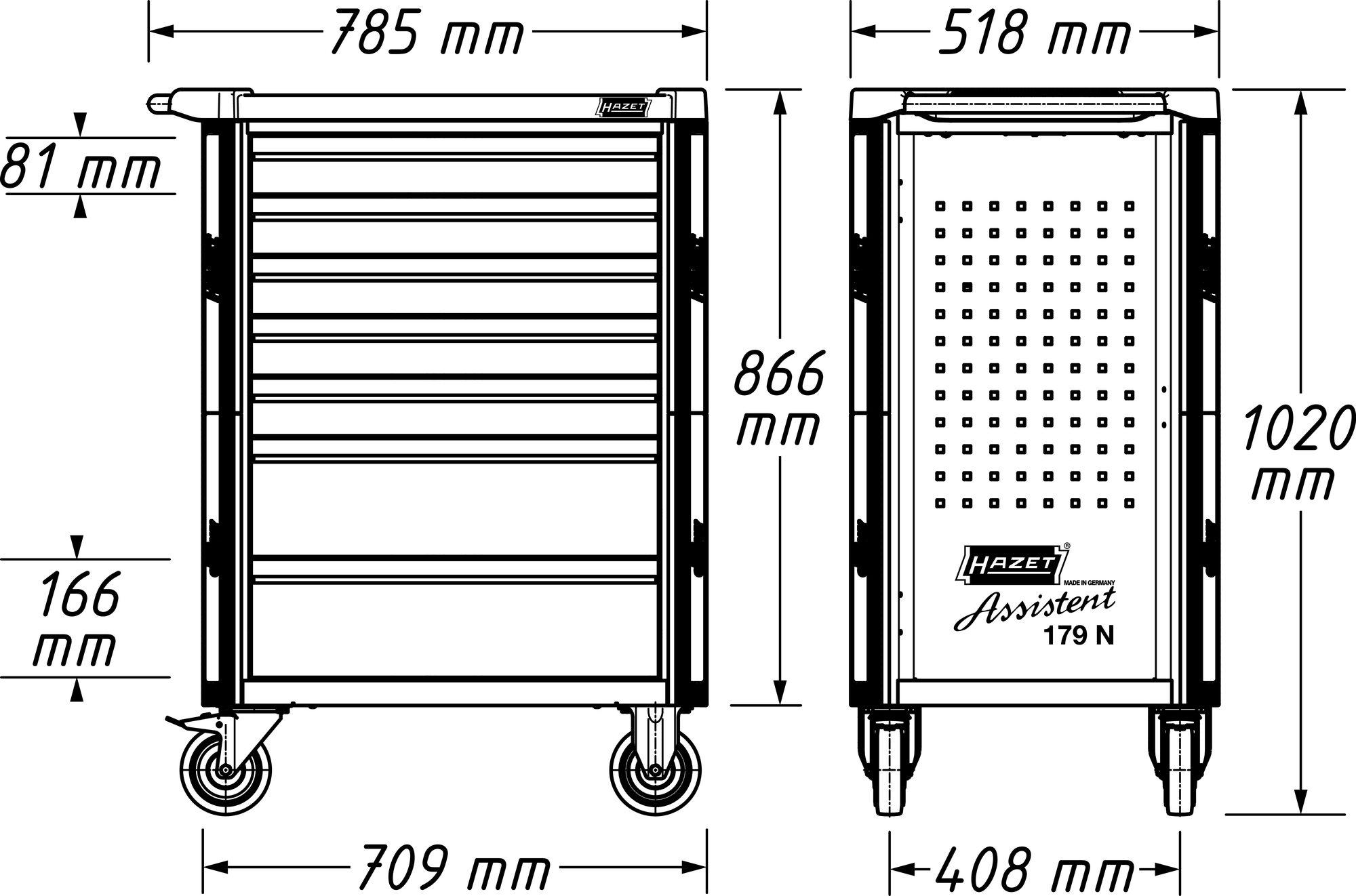 HAZET Werkstattwagen Assistent 179NX-7/65ALU ∙ Schubladen, flach: 5x 81x522x398 mm ∙ Anzahl Werkzeuge: 65