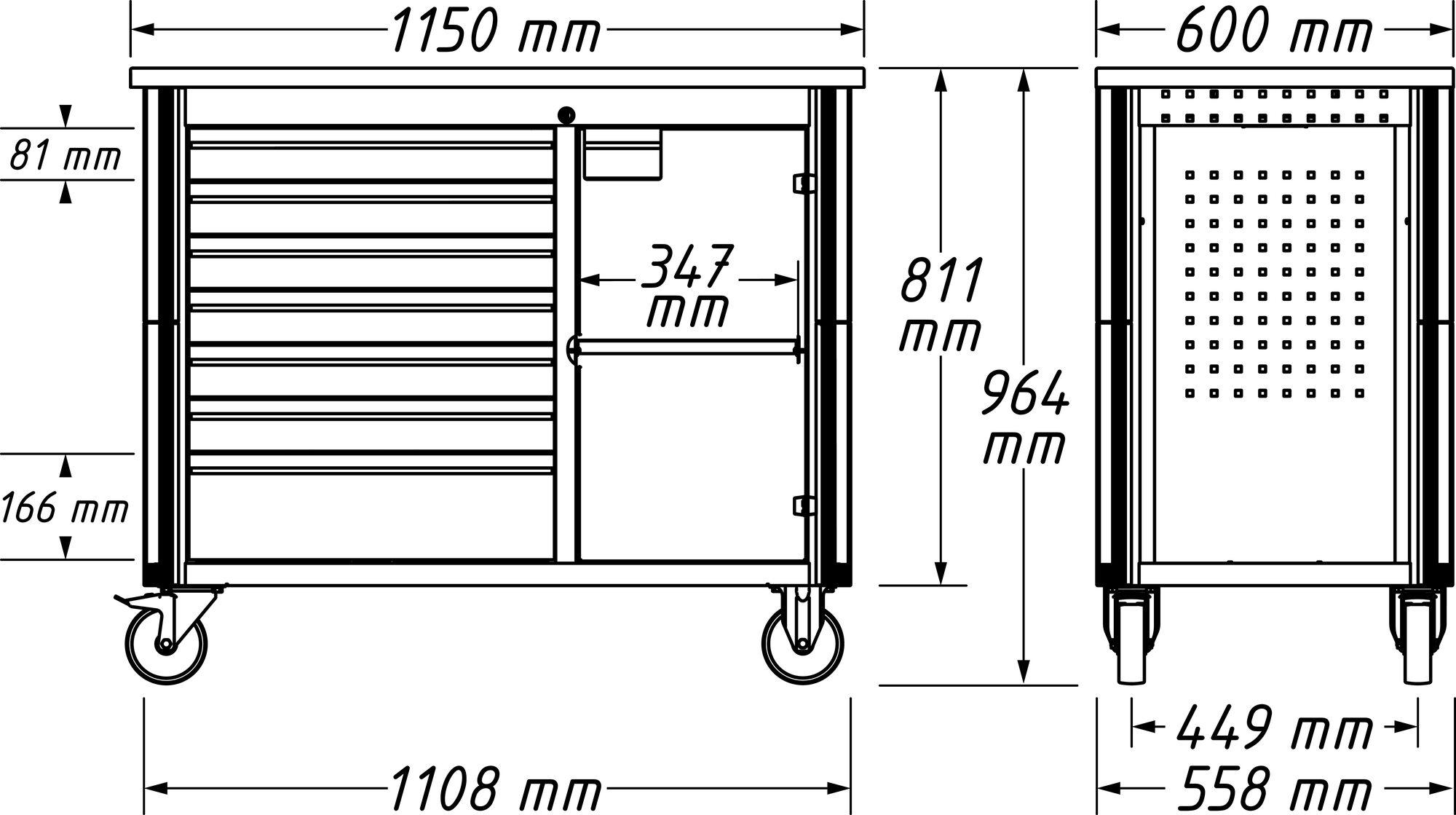 HAZET Fahrbare Werkbank 179NW-7/230 ∙ Schubladen, flach: 6x 81x522x398 mm ∙ Anzahl Werkzeuge: 230