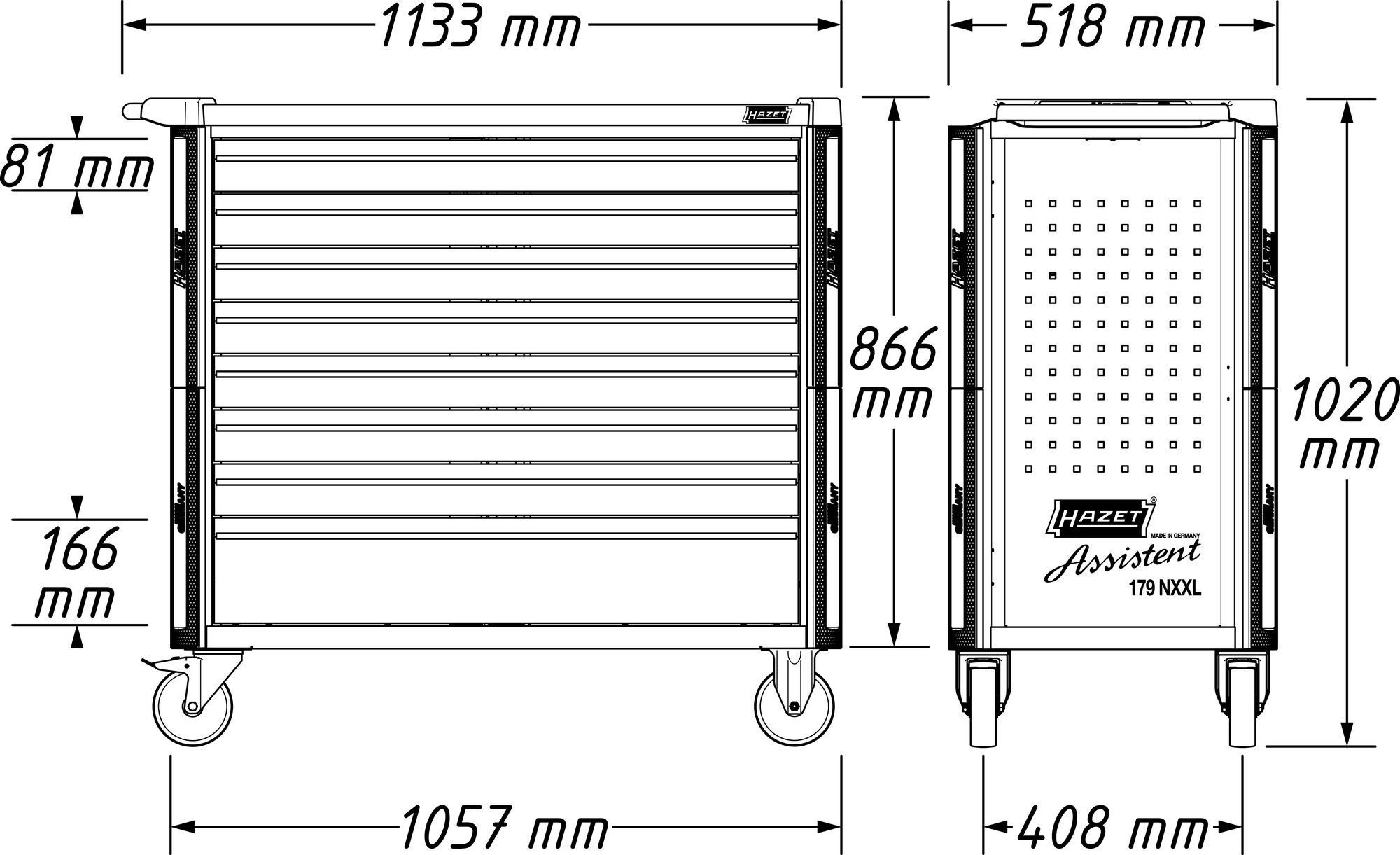 HAZET Werkstattwagen Assistent 179NXXL-8/378 ∙ Schubladen, flach: 7x 81x870x398 mm ∙ Anzahl Werkzeuge: 378