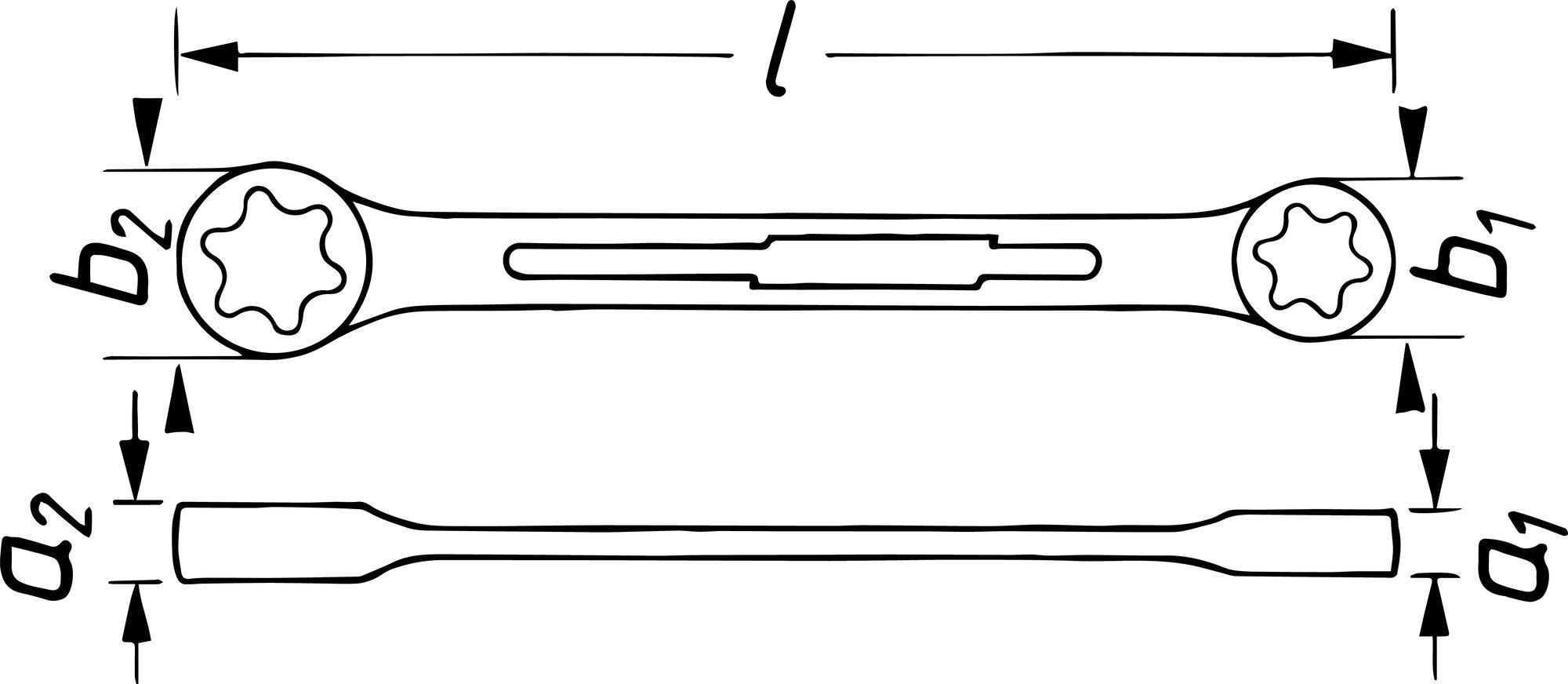 HAZET Doppel-Ringschlüssel TORX® 609-E10XE12 ∙ Außen TORX® Profil ∙ E10, E12