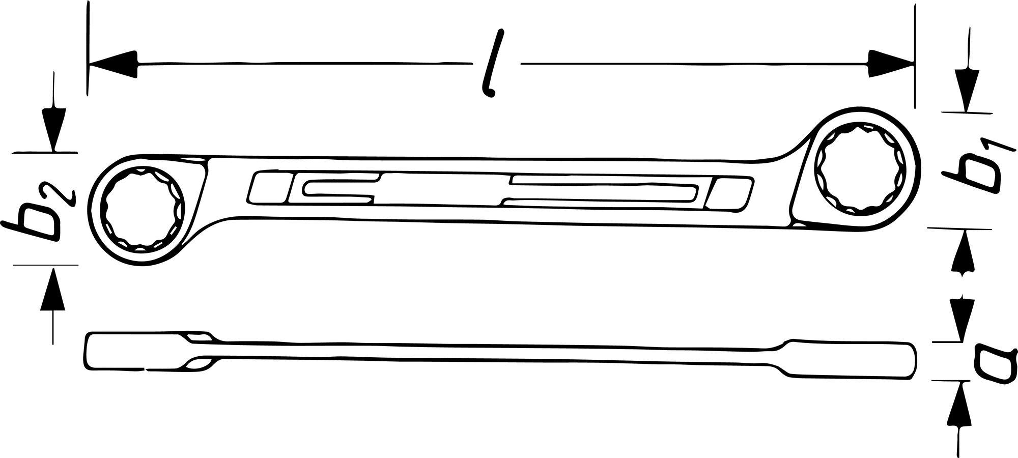 HAZET Doppel-Ringschlüssel 610N-27X32 ∙ Außen-Doppel-Sechskant-Tractionsprofil ∙ 27 x 32 mm