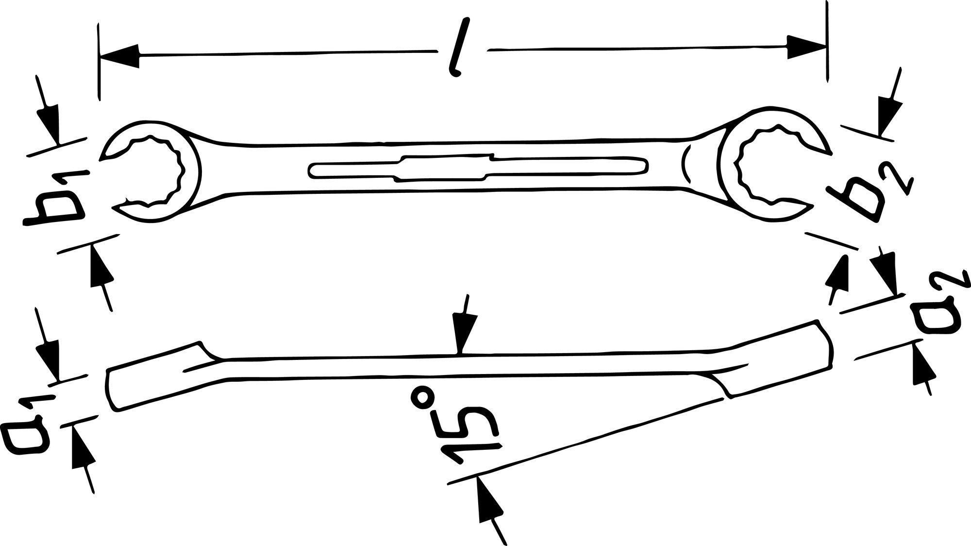 HAZET Doppel-Ringschlüssel ∙ offen 612-13X15 ∙ Außen-Doppel-Sechskant Profil ∙ 13 x 15 mm