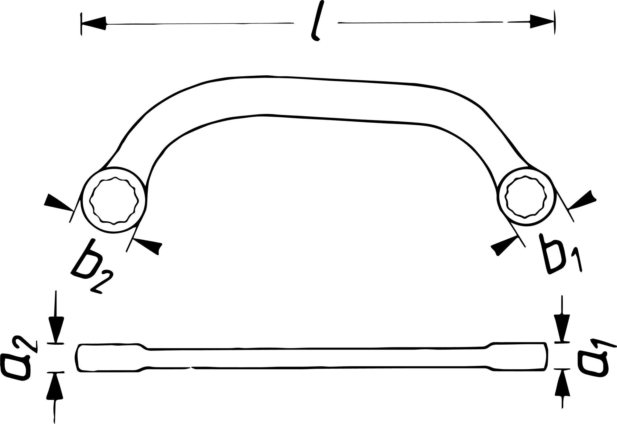 HAZET Doppel-Ringschlüssel 615-11X13 ∙ Außen-Doppel-Sechskant Profil ∙ 11 x 13 mm