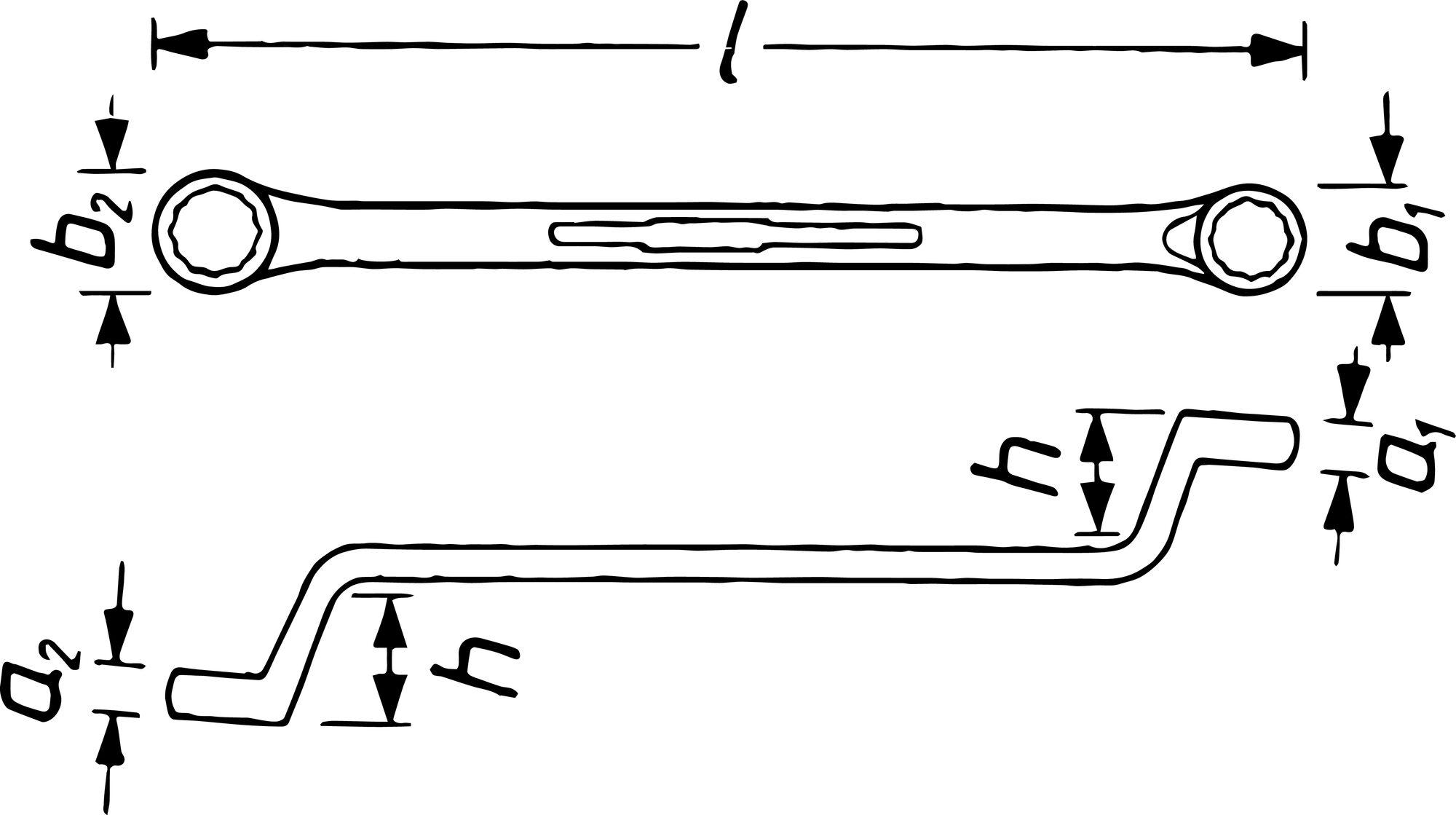 HAZET Doppel-Ringschlüssel 630-24X27 ∙ Außen-Doppel-Sechskant Profil ∙ 24 x 27 mm