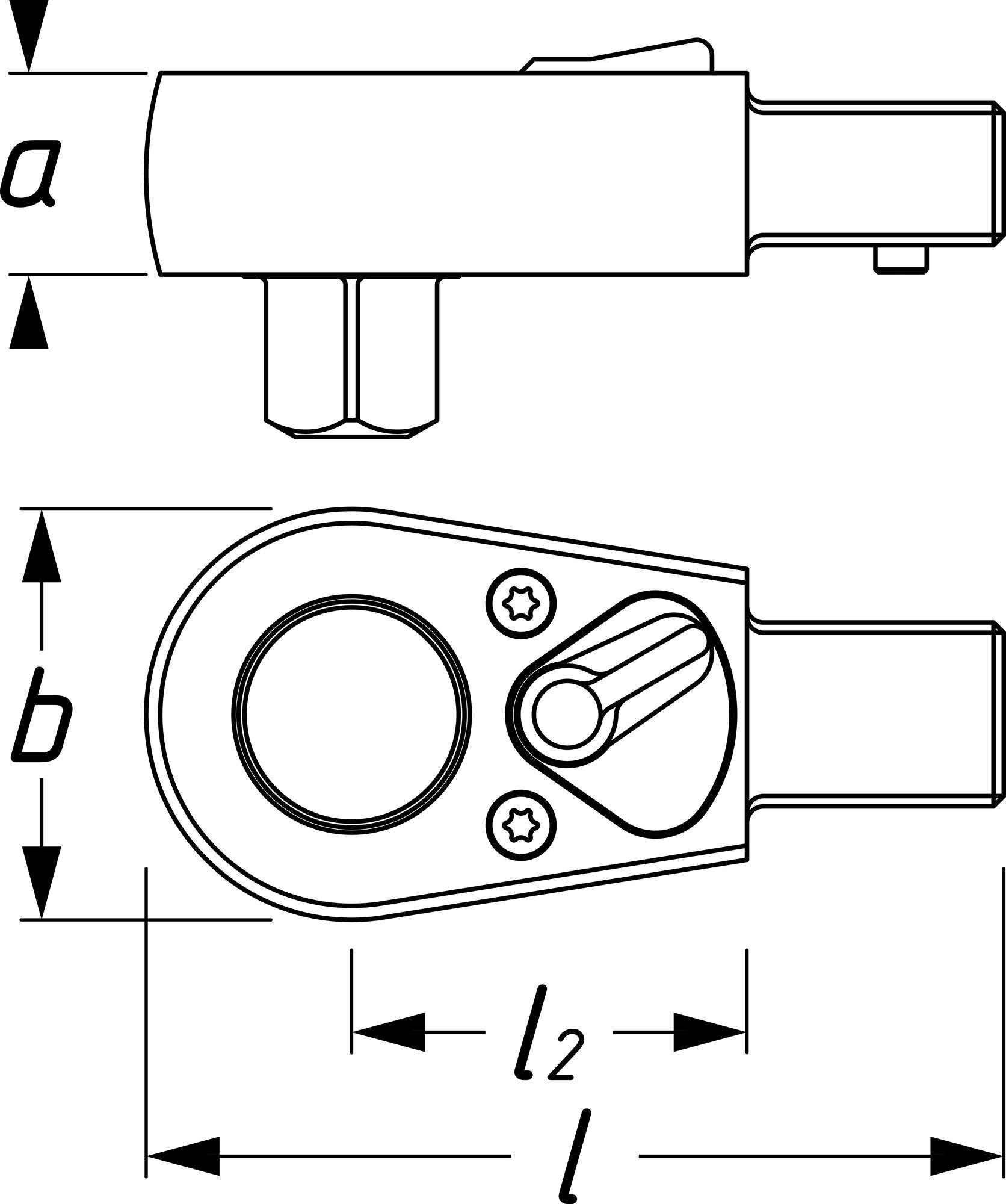 HAZET Einsteck-Umschaltknarre 6403-1 ∙ Einsteck-Vierkant 9 x 12 mm ∙ Vierkant massiv 12,5 mm (1/2 Zoll)