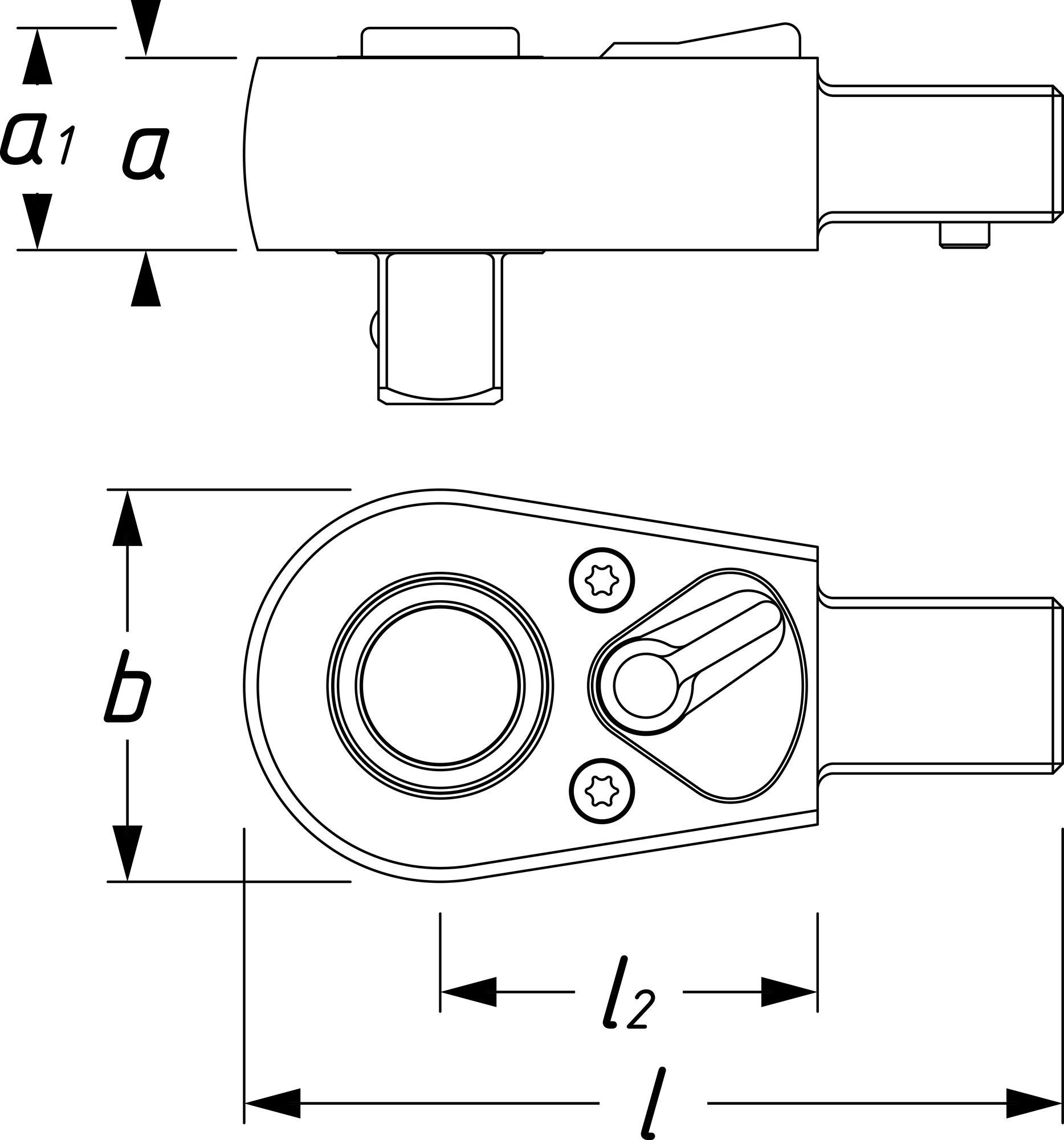 HAZET Einsteck-Umschaltknarre 6404-1S ∙ Einsteck-Vierkant 14 x 18 mm ∙ Vierkant massiv 12,5 mm (1/2 Zoll)