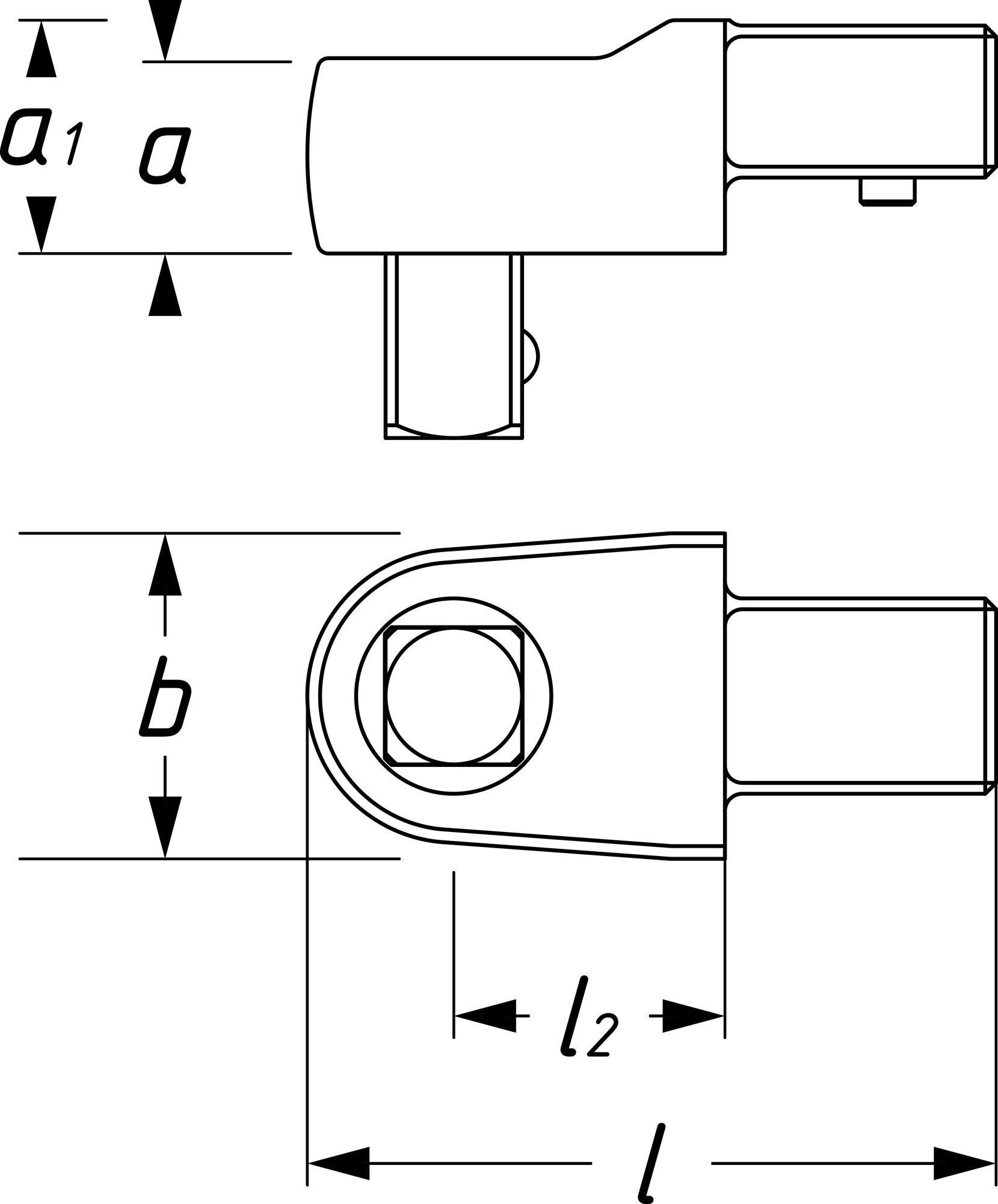 HAZET Einsteck Vierkant-Antriebe 6414 ∙ Einsteck-Vierkant 14 x 18 mm ∙ Vierkant massiv 12,5 mm (1/2 Zoll)