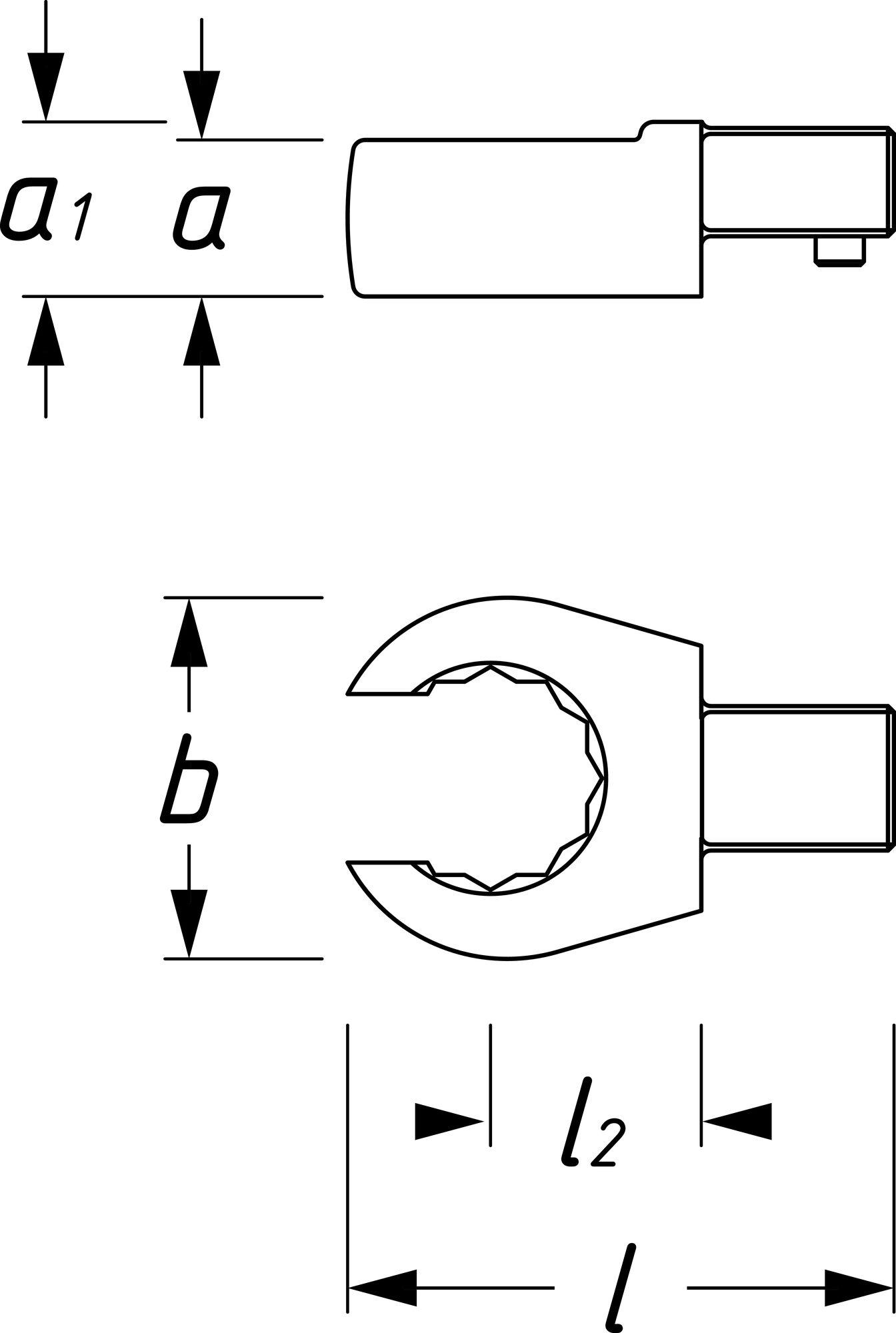 HAZET Einsteck-Ringschlüssel ∙ offen 6612C-10 ∙ Einsteck-Vierkant 9 x 12 mm ∙ Außen-Doppel-Sechskant Profil ∙ 10 mm