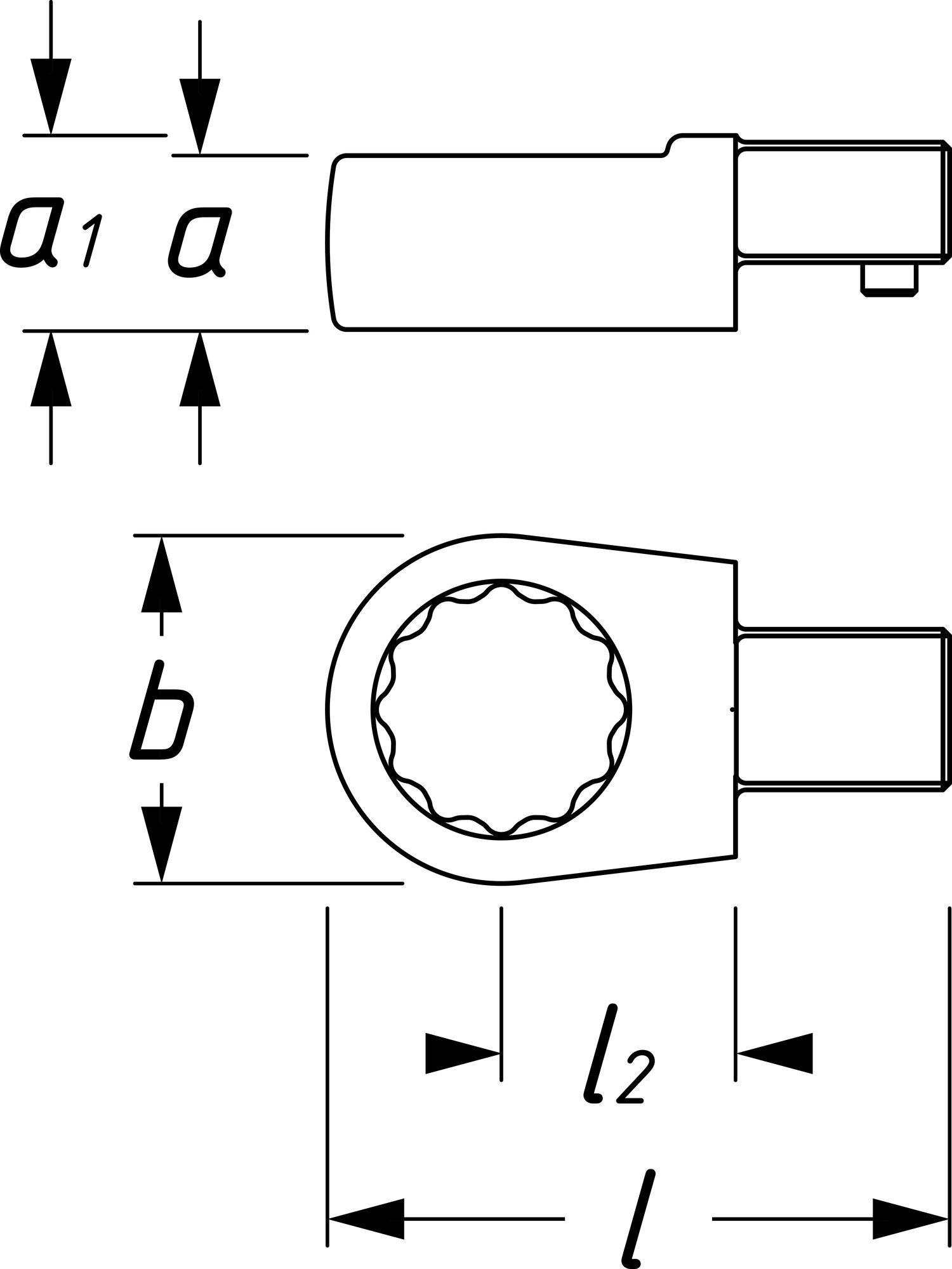 HAZET Einsteck-Ringschlüssel 6630C-14 ∙ Einsteck-Vierkant 9 x 12 mm ∙ Außen-Doppel-Sechskant-Tractionsprofil ∙ 14 mm