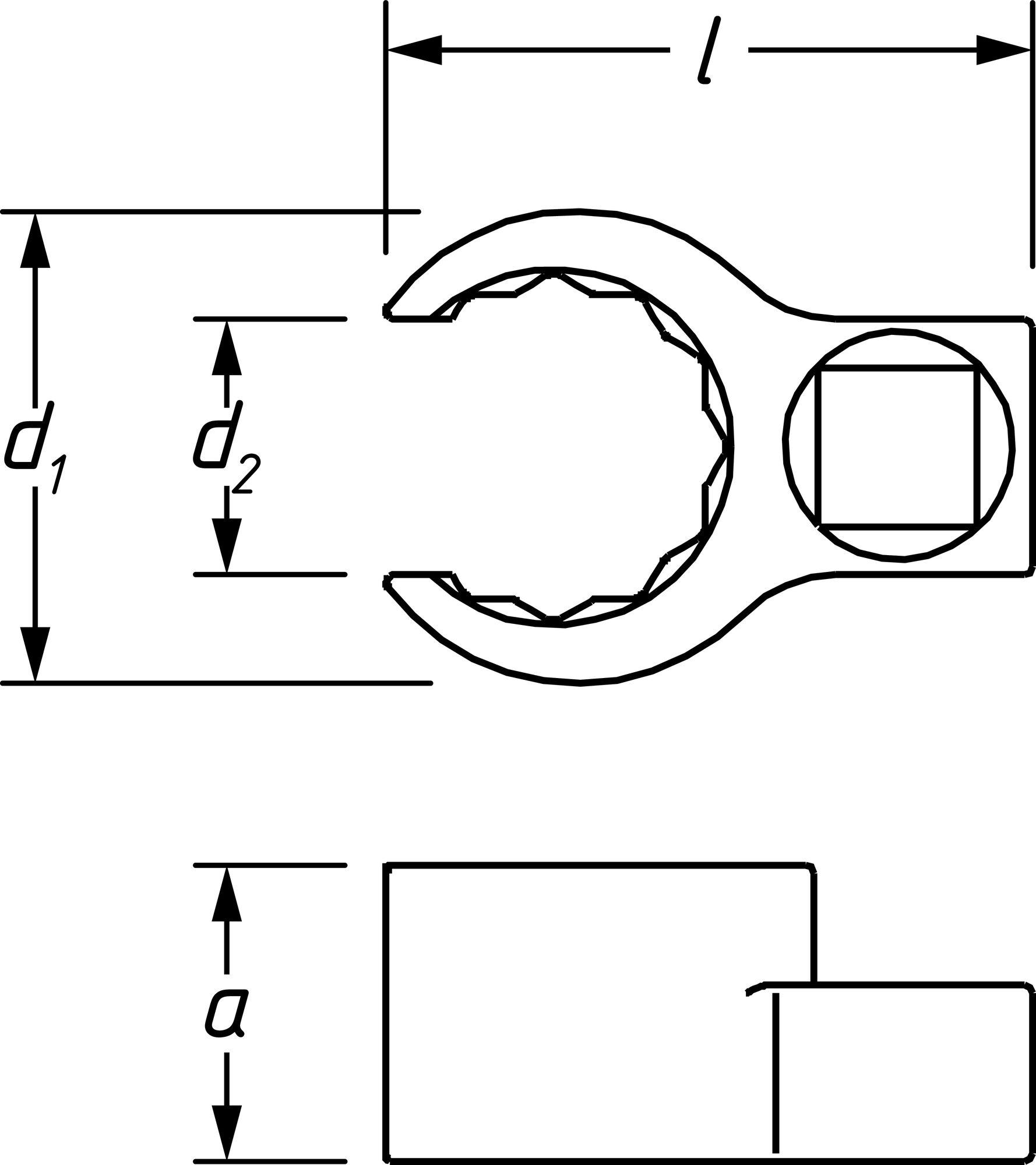 HAZET Ringschlüssel ∙ Doppelsechskant ∙ offen 848Z-24 ∙ Vierkant hohl 10 mm (3/8 Zoll) ∙ 24 mm