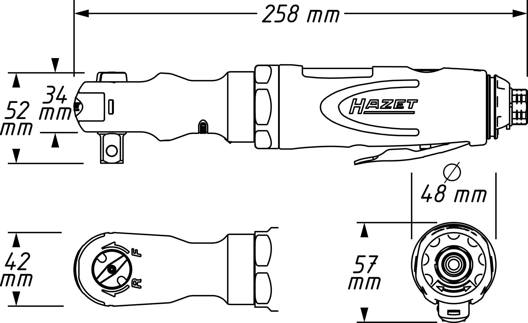 HAZET Ratschenschrauber 9022P-2 ∙ Vierkant massiv 12,5 mm (1/2 Zoll)