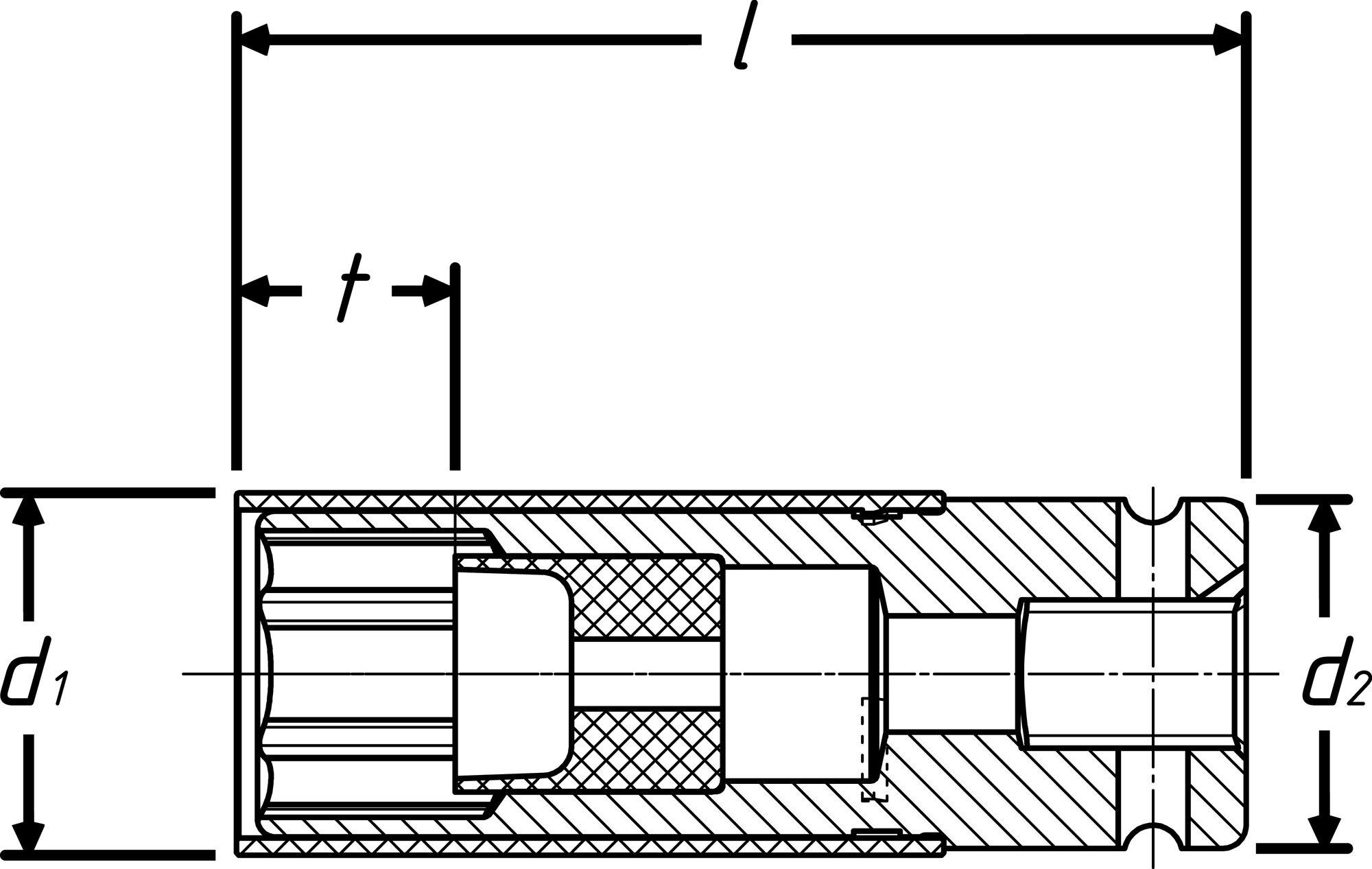 HAZET Schlag- ∙ Maschinenschrauber Steckschlüsseleinsatz ∙ Sechskant 903SLG-15 ∙ Vierkant hohl 12,5 mm (1/2 Zoll)