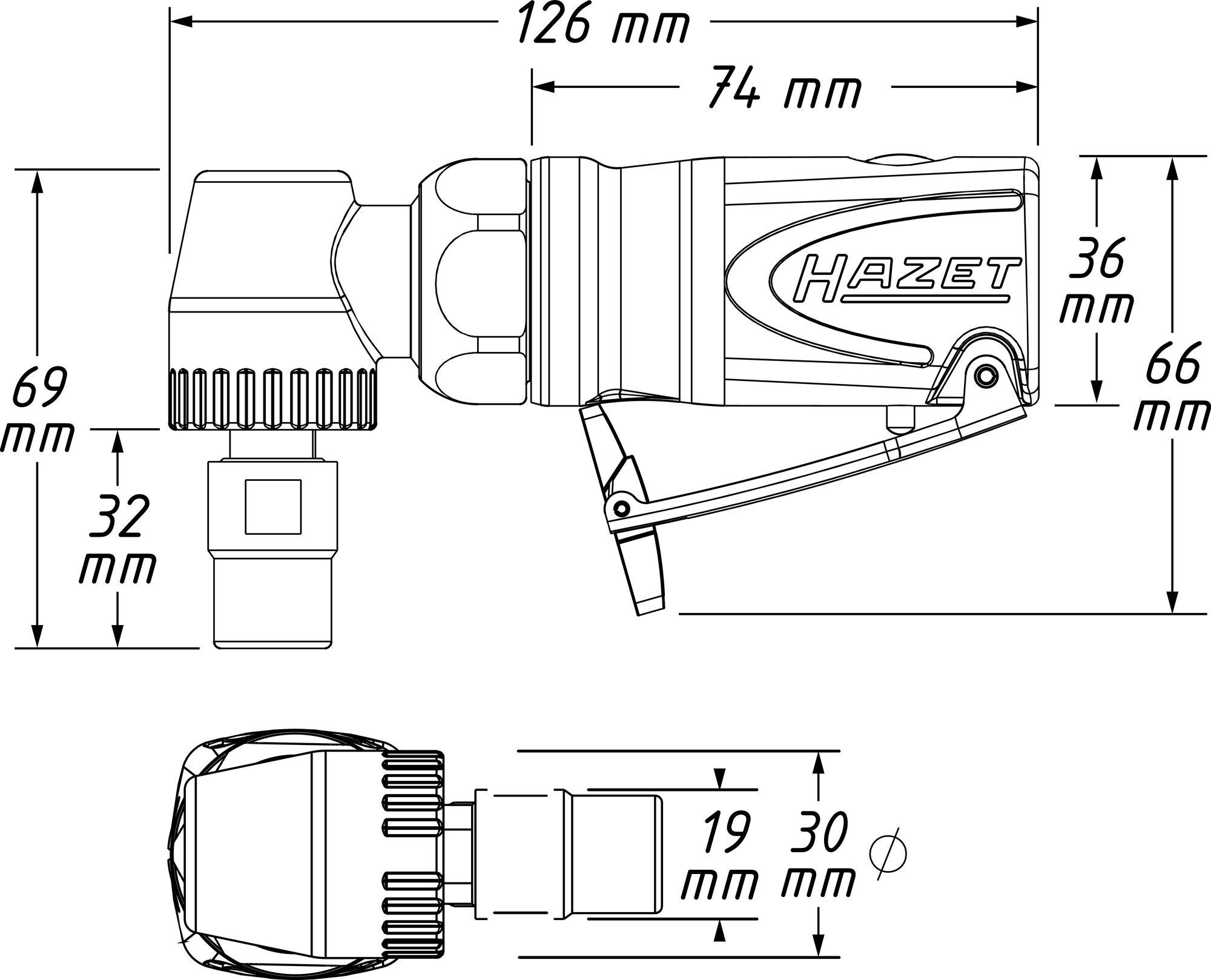 HAZET Mini Stabschleifer ∙ abgewinkelt 9032M-5