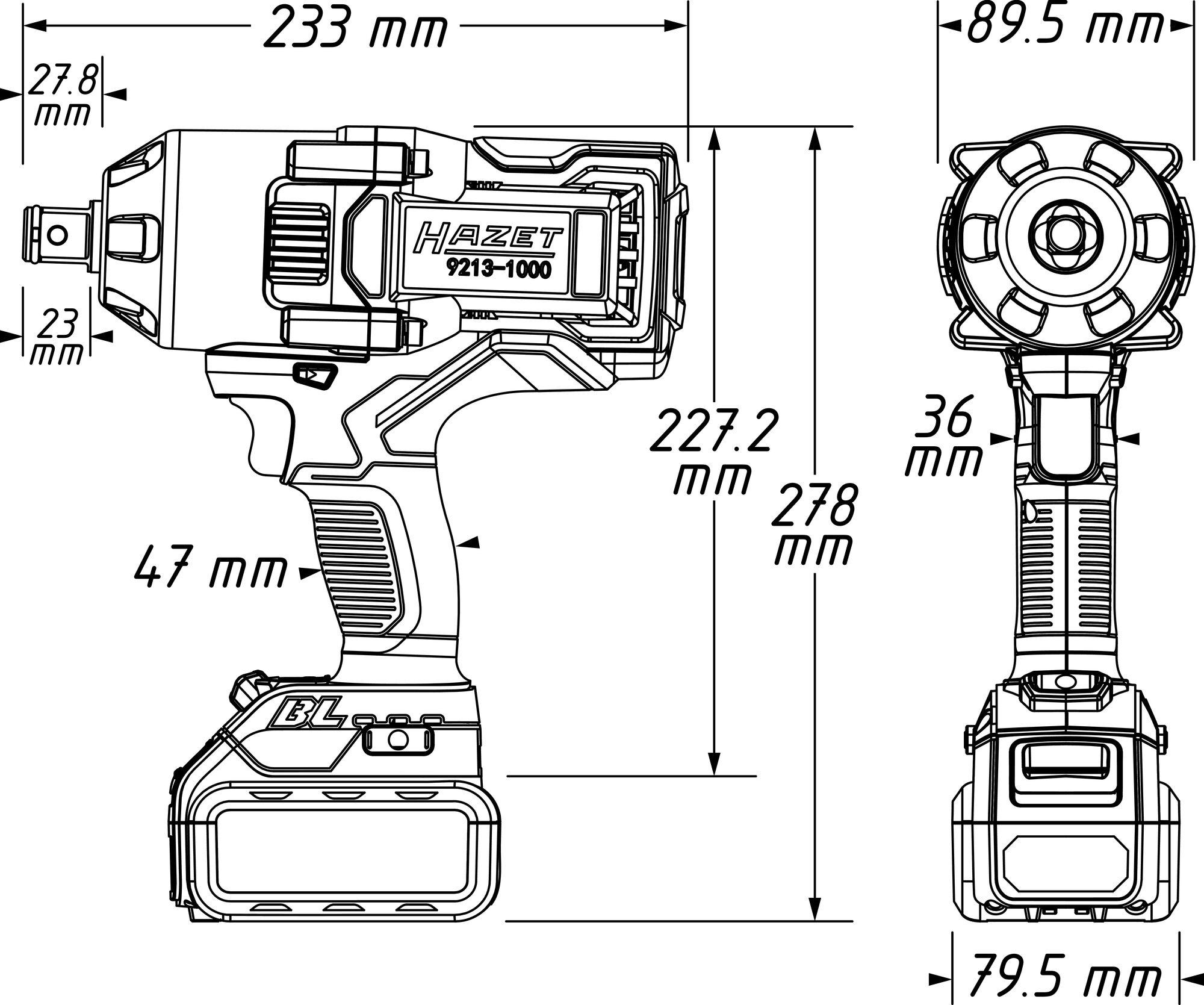 HAZET Akku-Schlagschrauber 9213-1000/4 ∙ Lösemoment maximal: 1400 Nm ∙ Vierkant massiv 20 mm (3/4 Zoll)